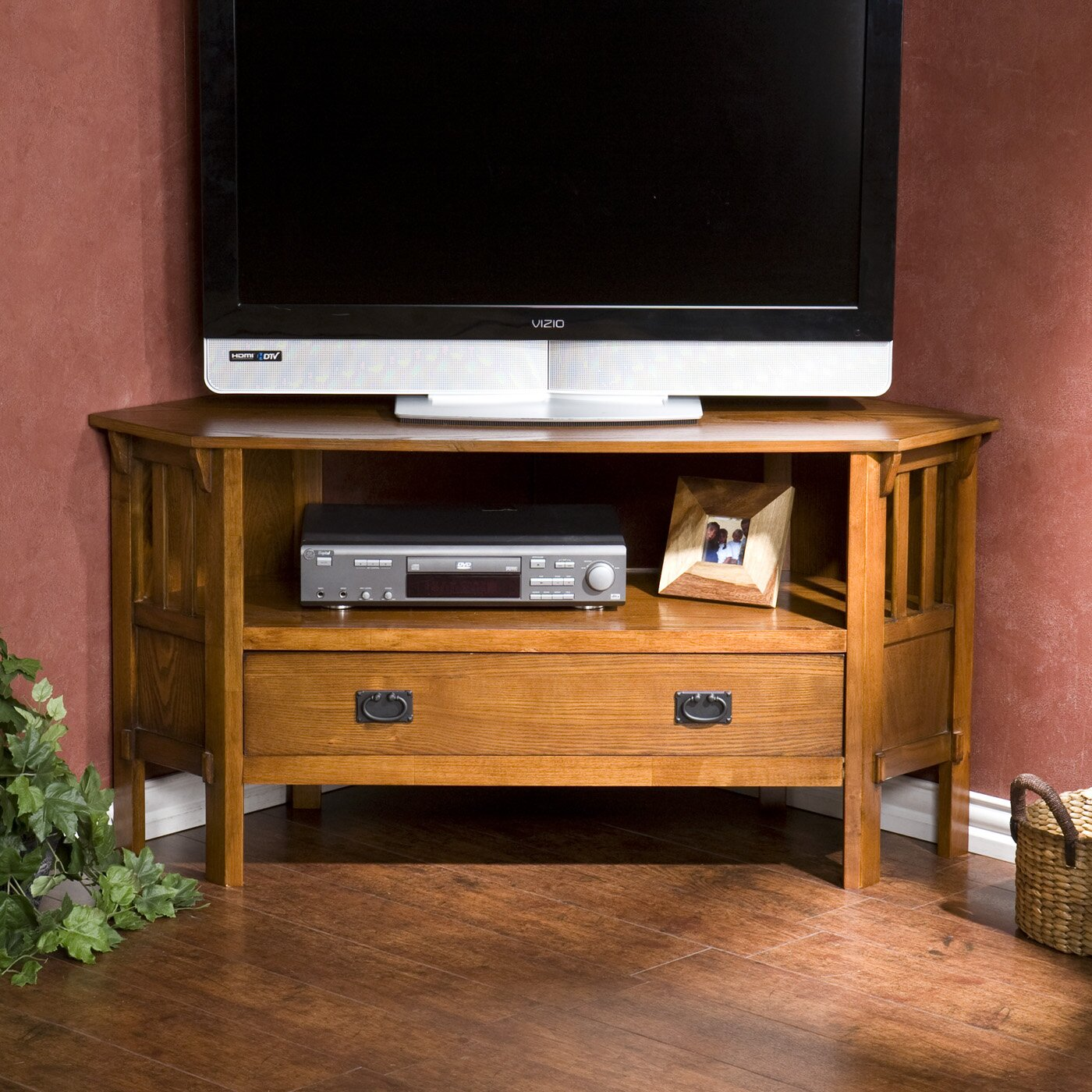 wildon home barklay corner tv stand reviews wayfair. Black Bedroom Furniture Sets. Home Design Ideas