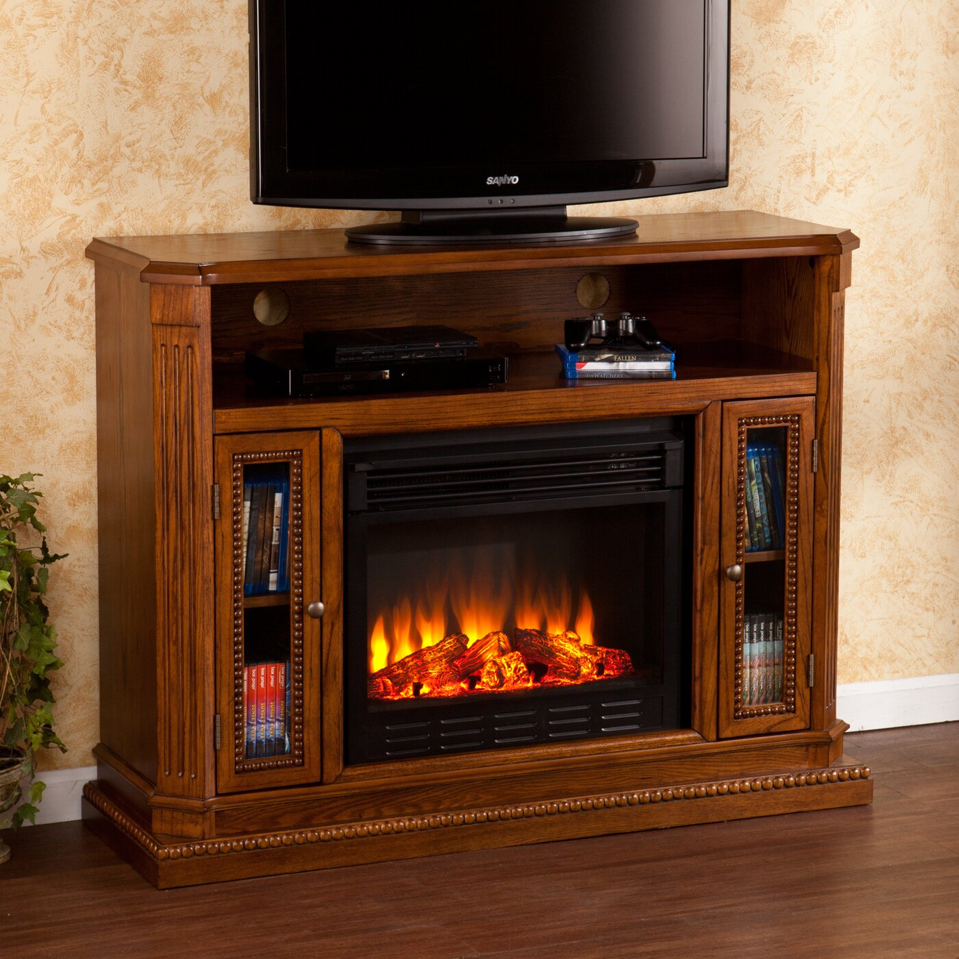 wildon home delaney tv stand with electric fireplace reviews wayfair. Black Bedroom Furniture Sets. Home Design Ideas