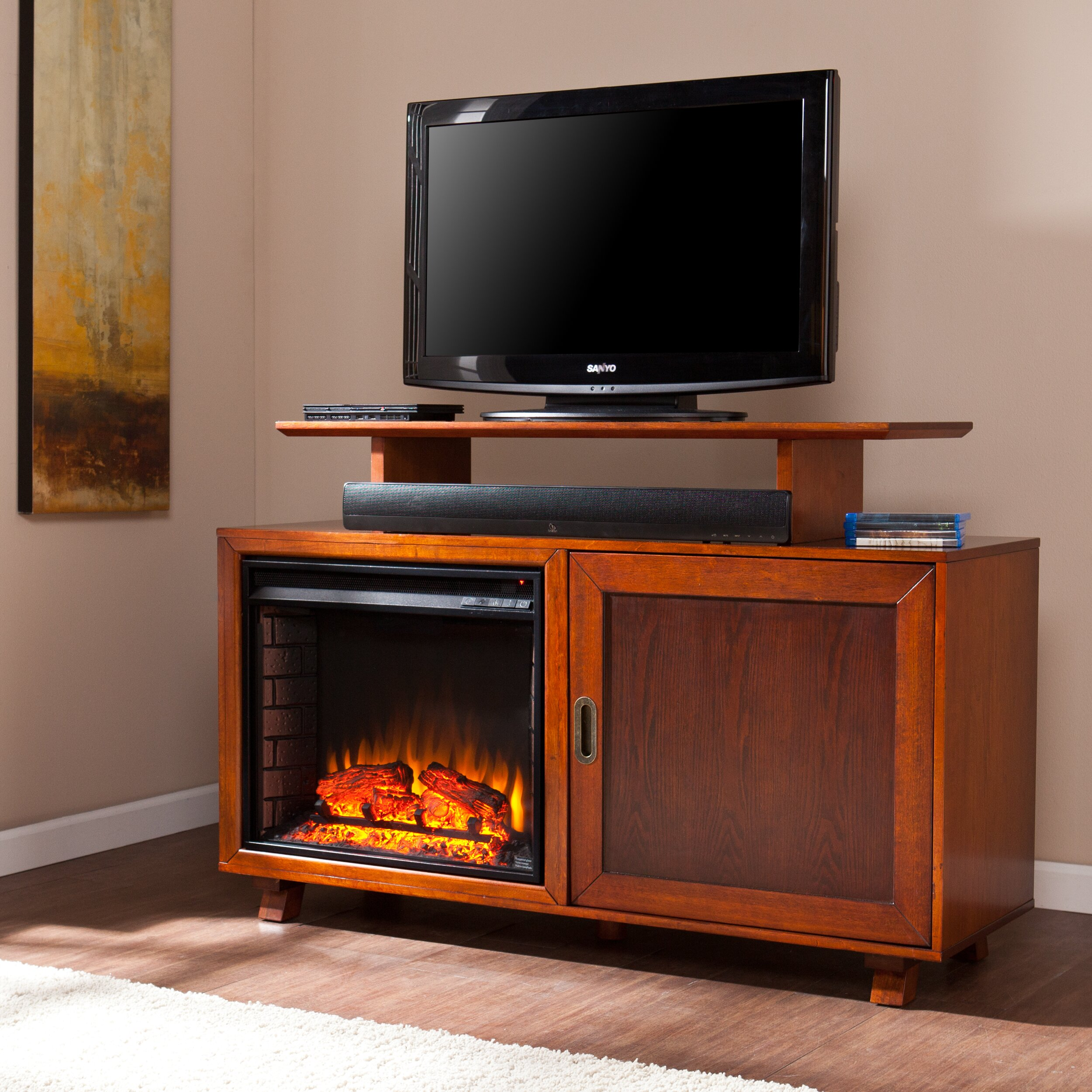 wildon home barton tv stand with electric fireplace reviews wayfair. Black Bedroom Furniture Sets. Home Design Ideas