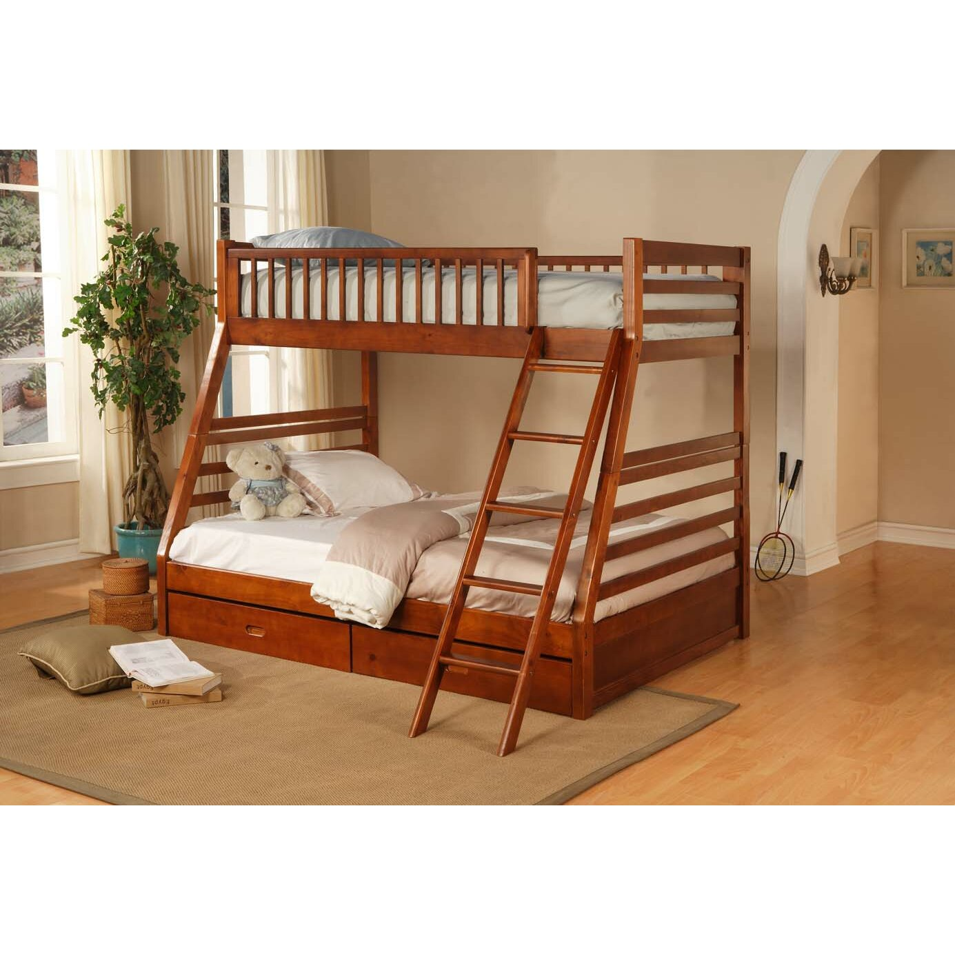 Wildon Home Dillard Twin Over Full Bunk Bed With Storage