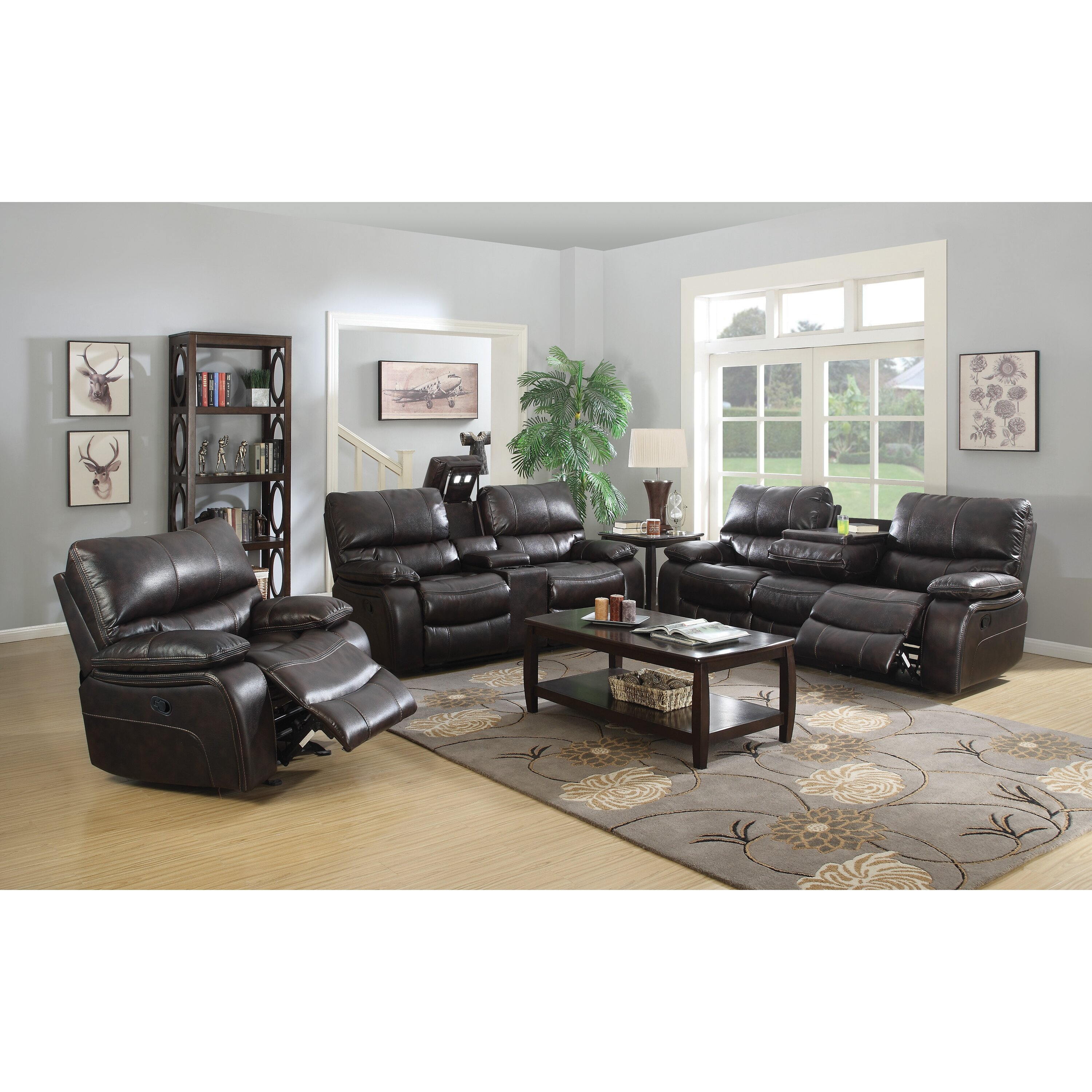 Wildon Home Willemse Motion Leather Reclining Sofa