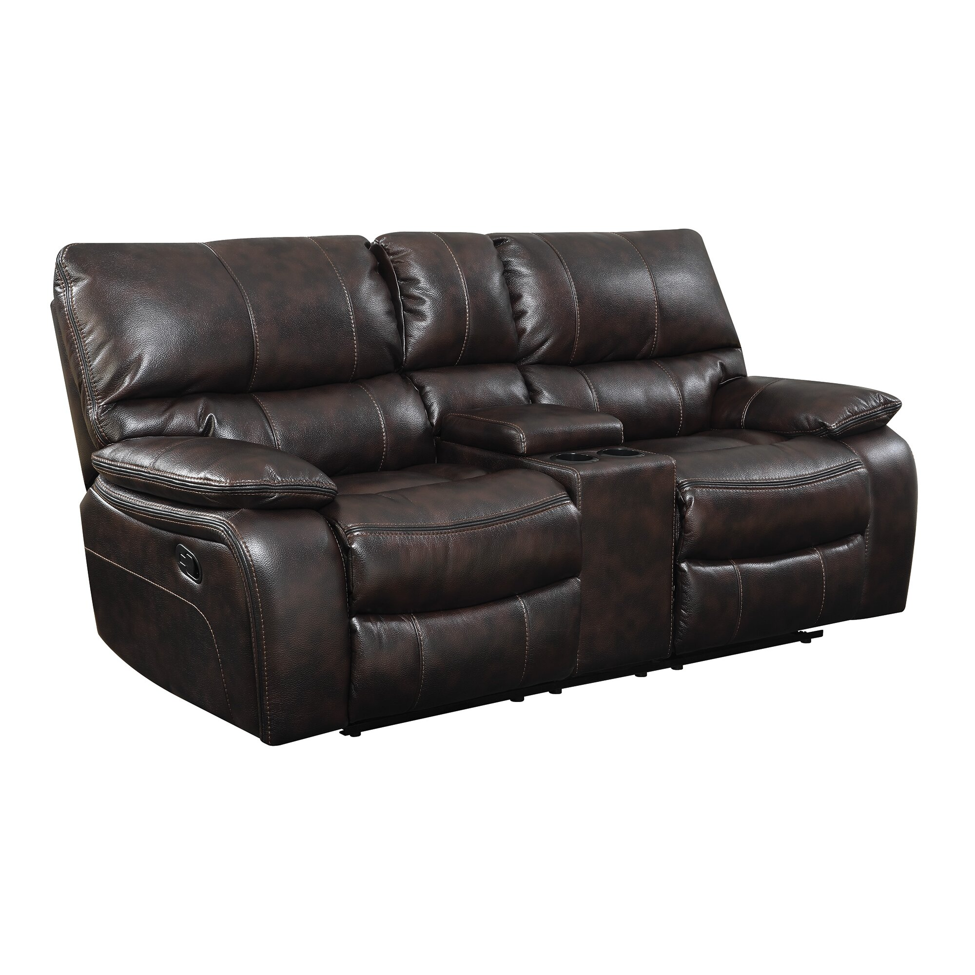 Wildon home willemse motion leather reclining loveseat wayfair Leather reclining loveseat
