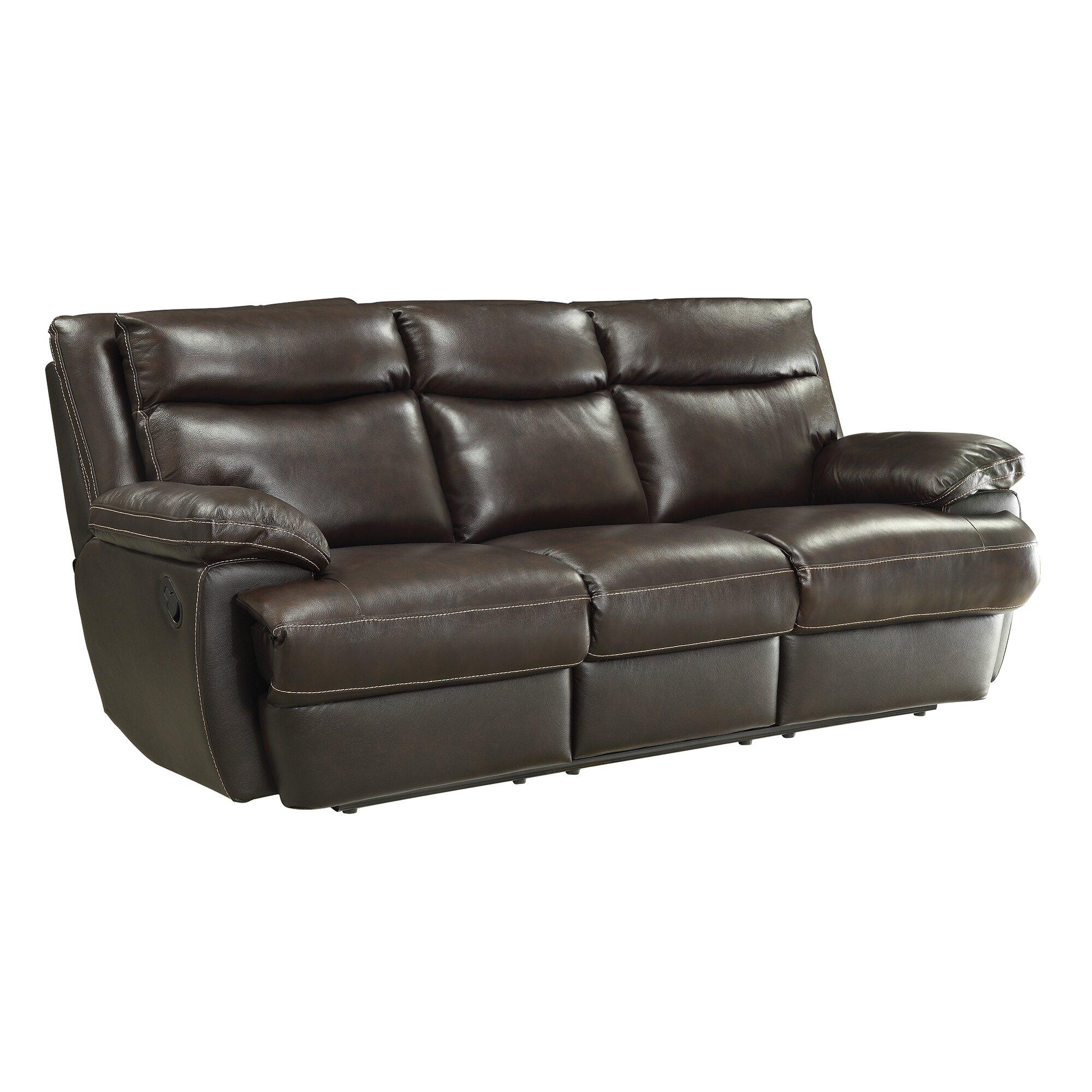 Wildon Home Macpherson Motion Leather Reclining Sofa