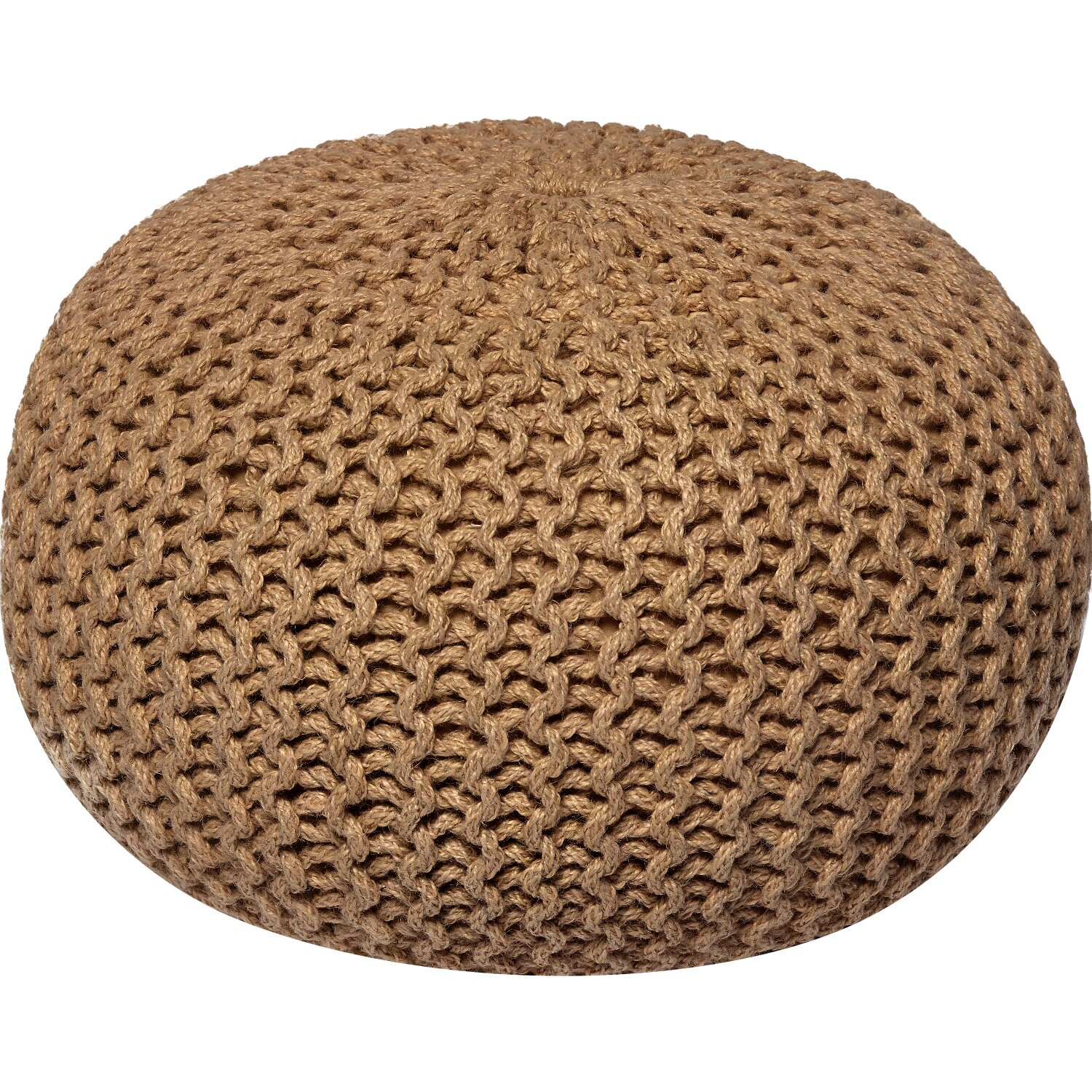 wildon home corded jute round pouf ottoman reviews wayfair. Black Bedroom Furniture Sets. Home Design Ideas