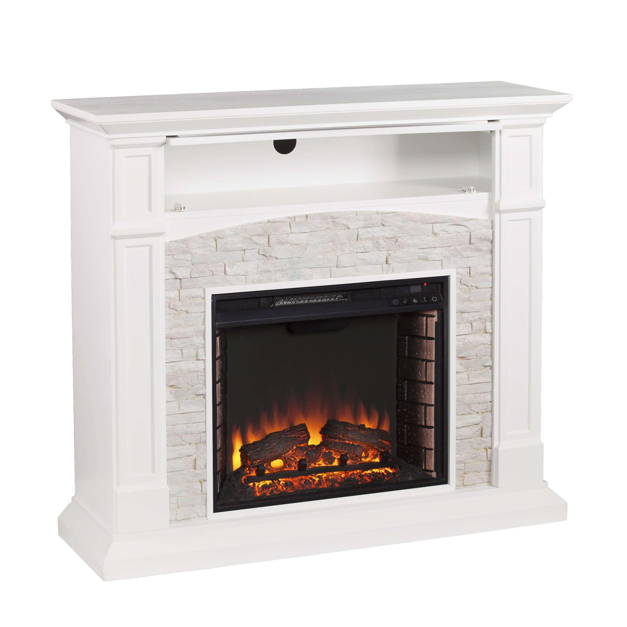 Wildon Home Sheldon Faux Stone Media Electric Fireplace