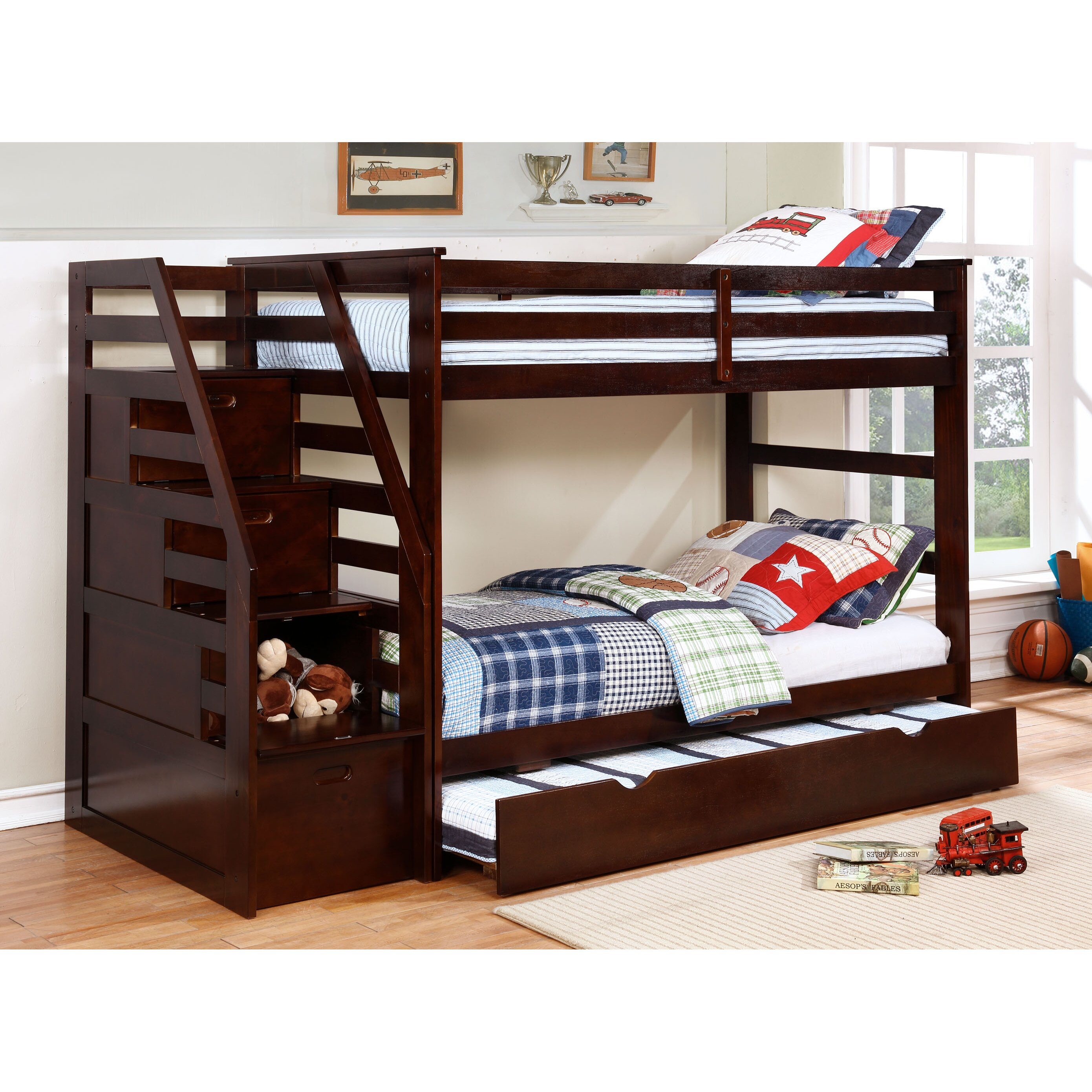 Wildon Home Cosmo Twin Bunk Bed With Trundle And Storage