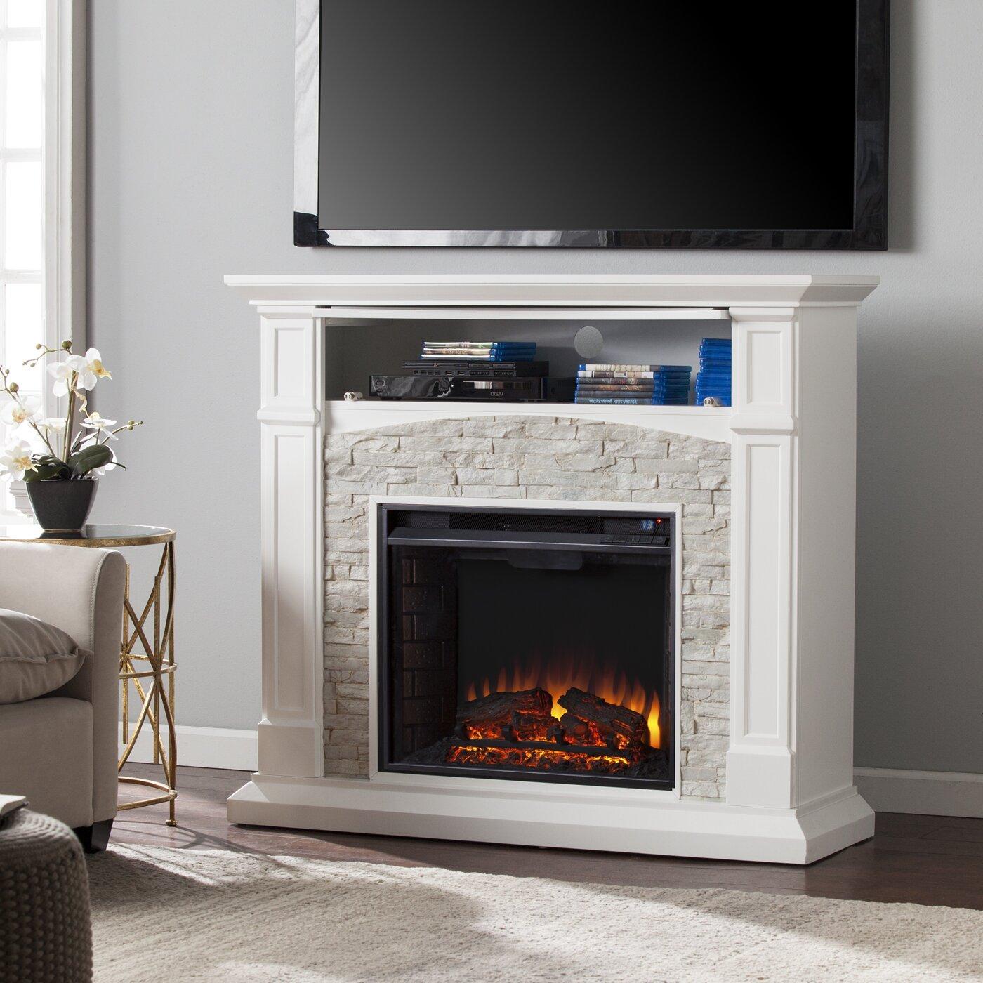 Wildon Home Sheldon Faux Stone Media Electric Fireplace Reviews