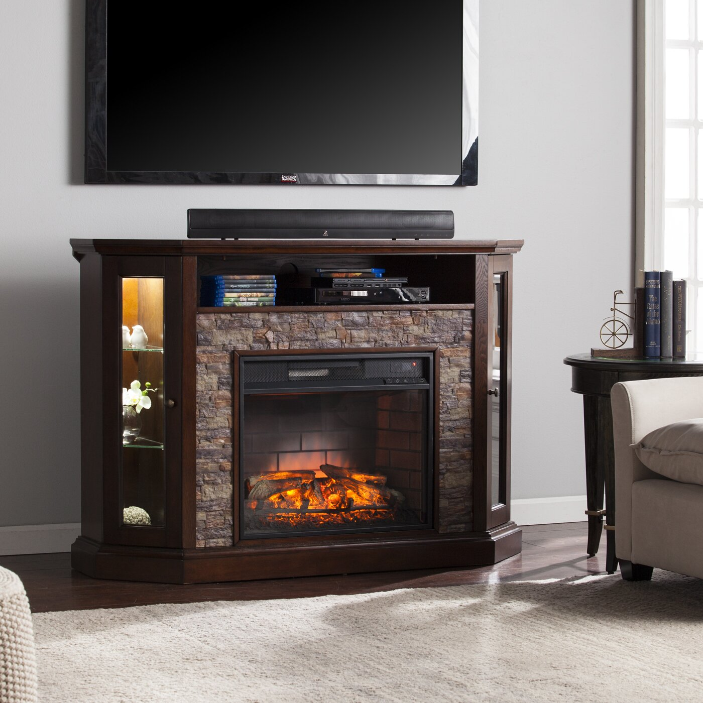 Wildon Home Rupert Corner Convertible Infrared Electric Fireplace Reviews Wayfair