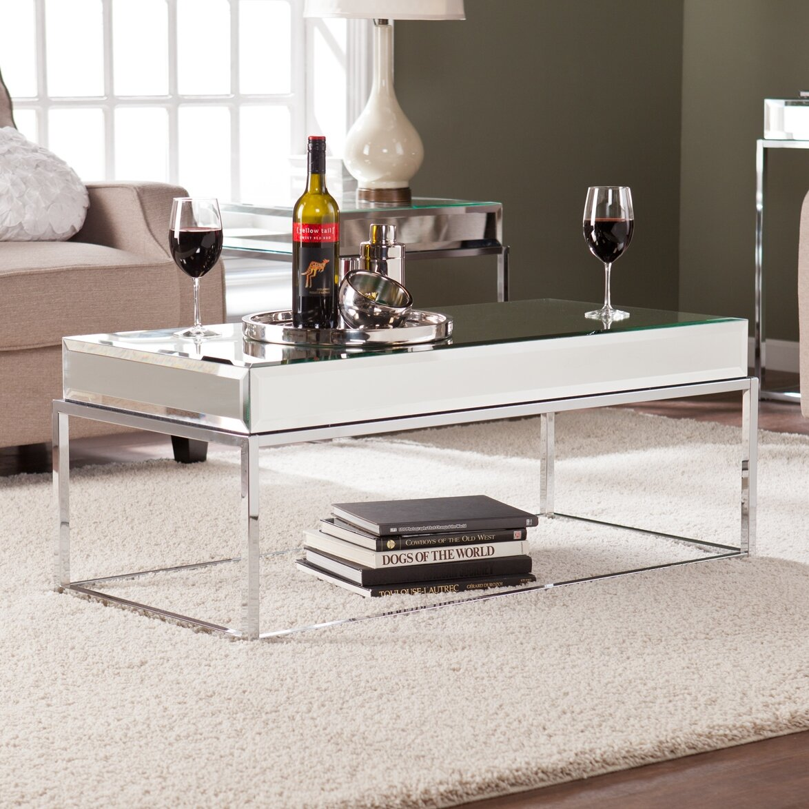 Empire Mirrored Coffee Table: Wildon Home ® Kyla Mirrored Coffee Table & Reviews