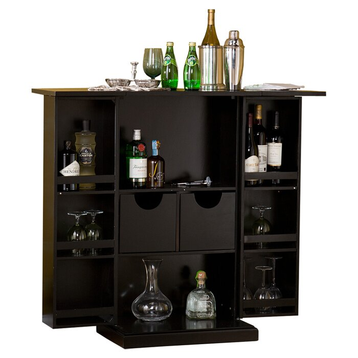 Folding Home Bar Cabinet Styles Furniture Black
