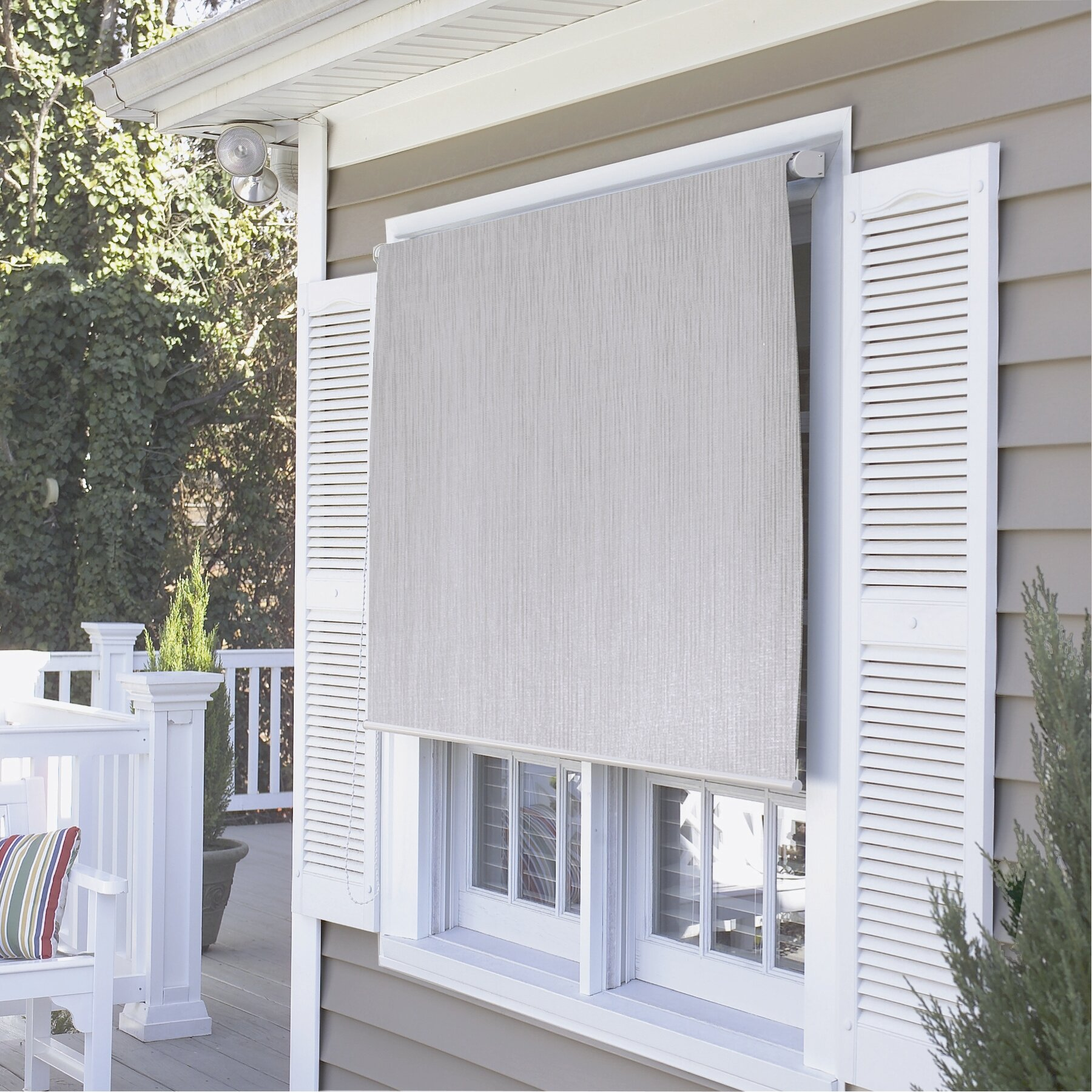 Coolaroo premier series outdoor roller solar shade for Exterior window shade