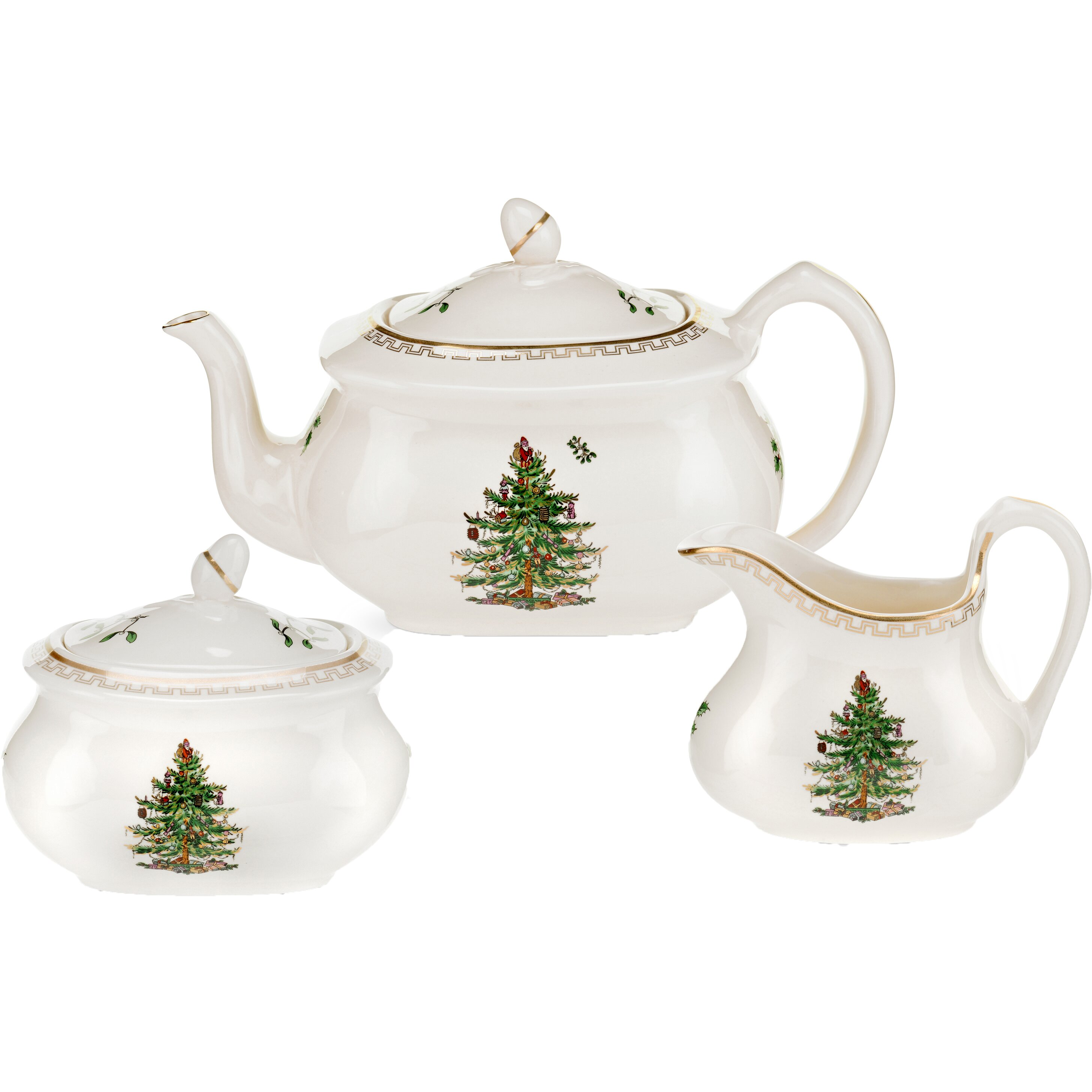 Spode Christmas Tree Candle Holder: Spode Christmas Tree Gold 3 Piece Teapot Set & Reviews