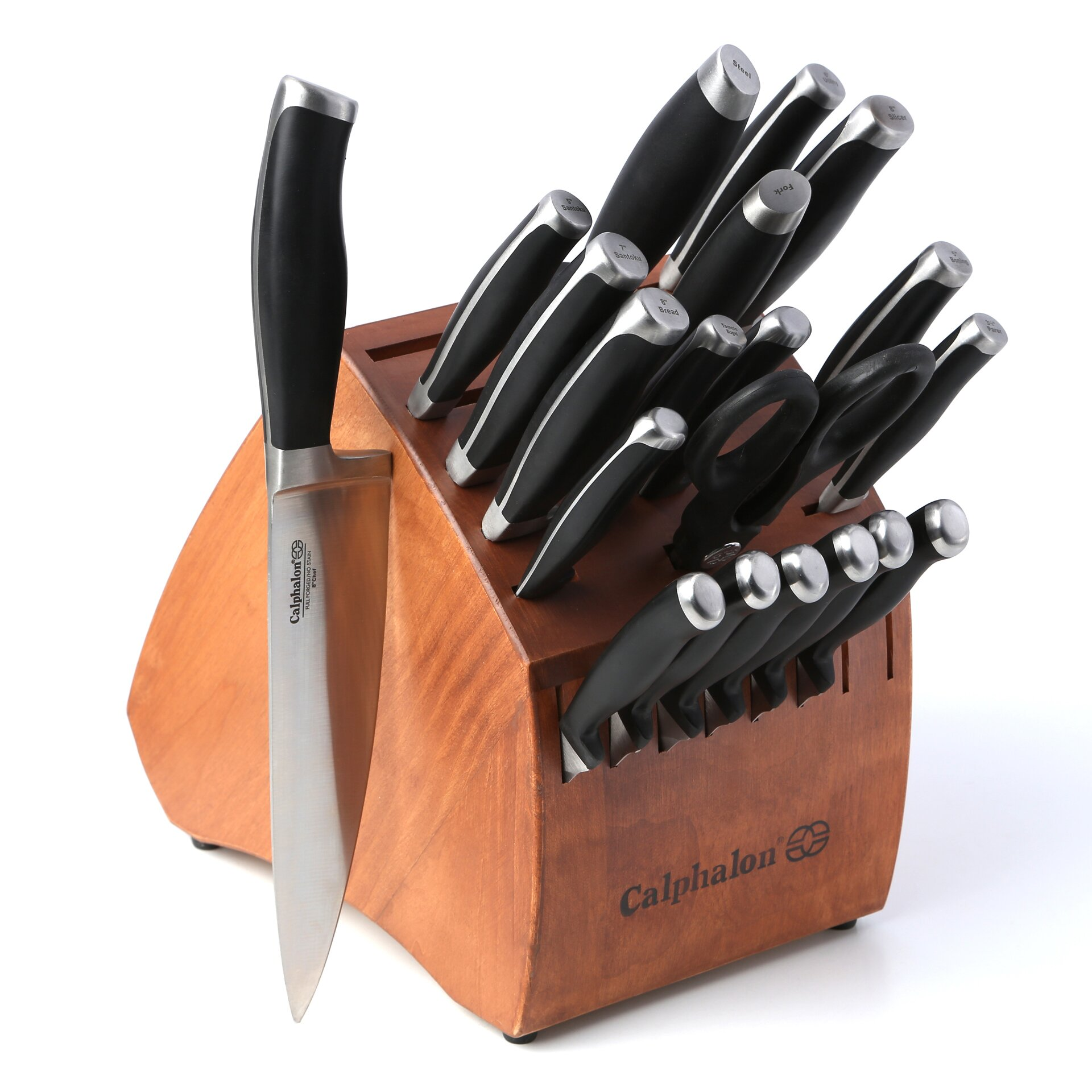 knives block set calphalon contemporary cutlery 21 piece knife block set