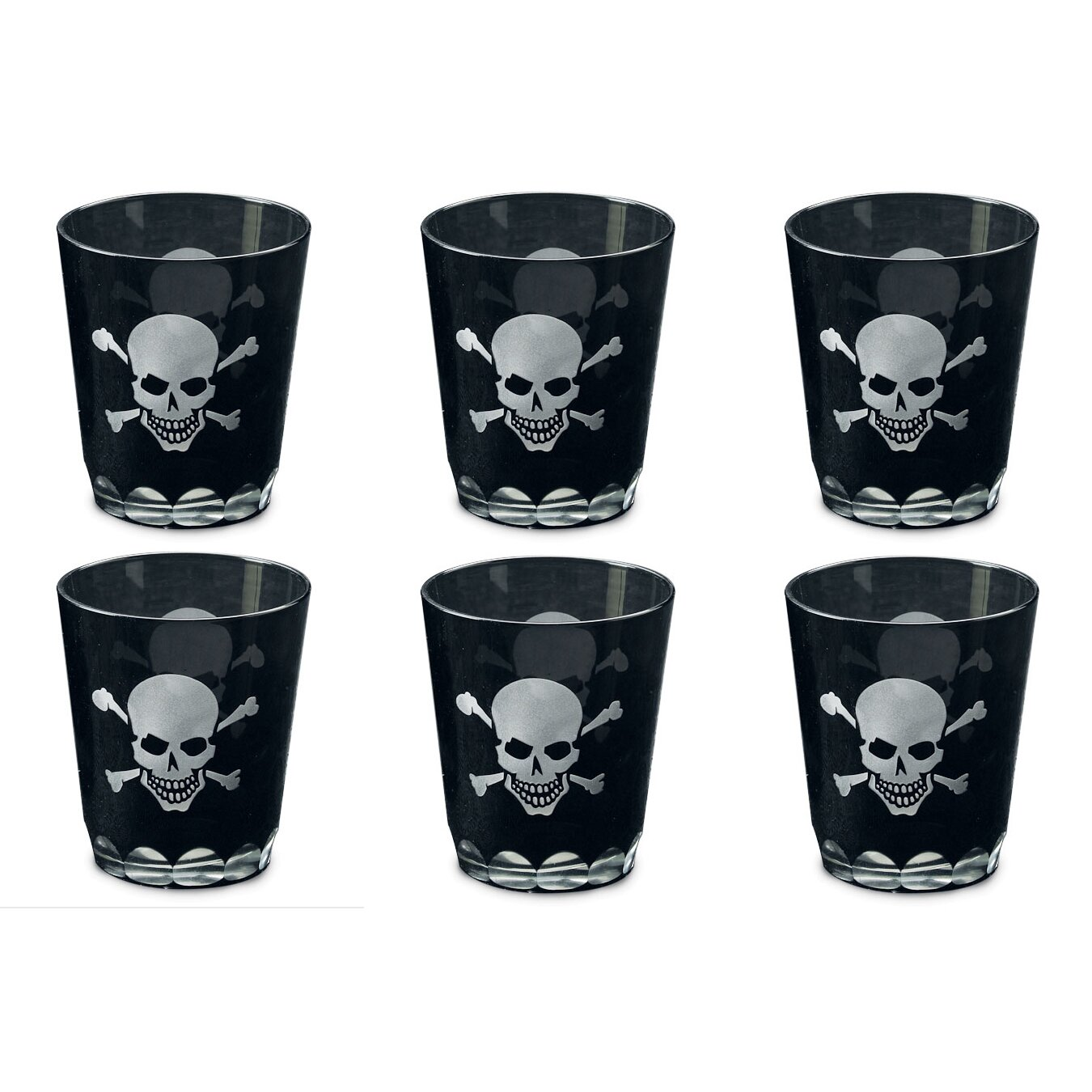St Croix Kindwer Skull And Crossbones Etched Rock Glass