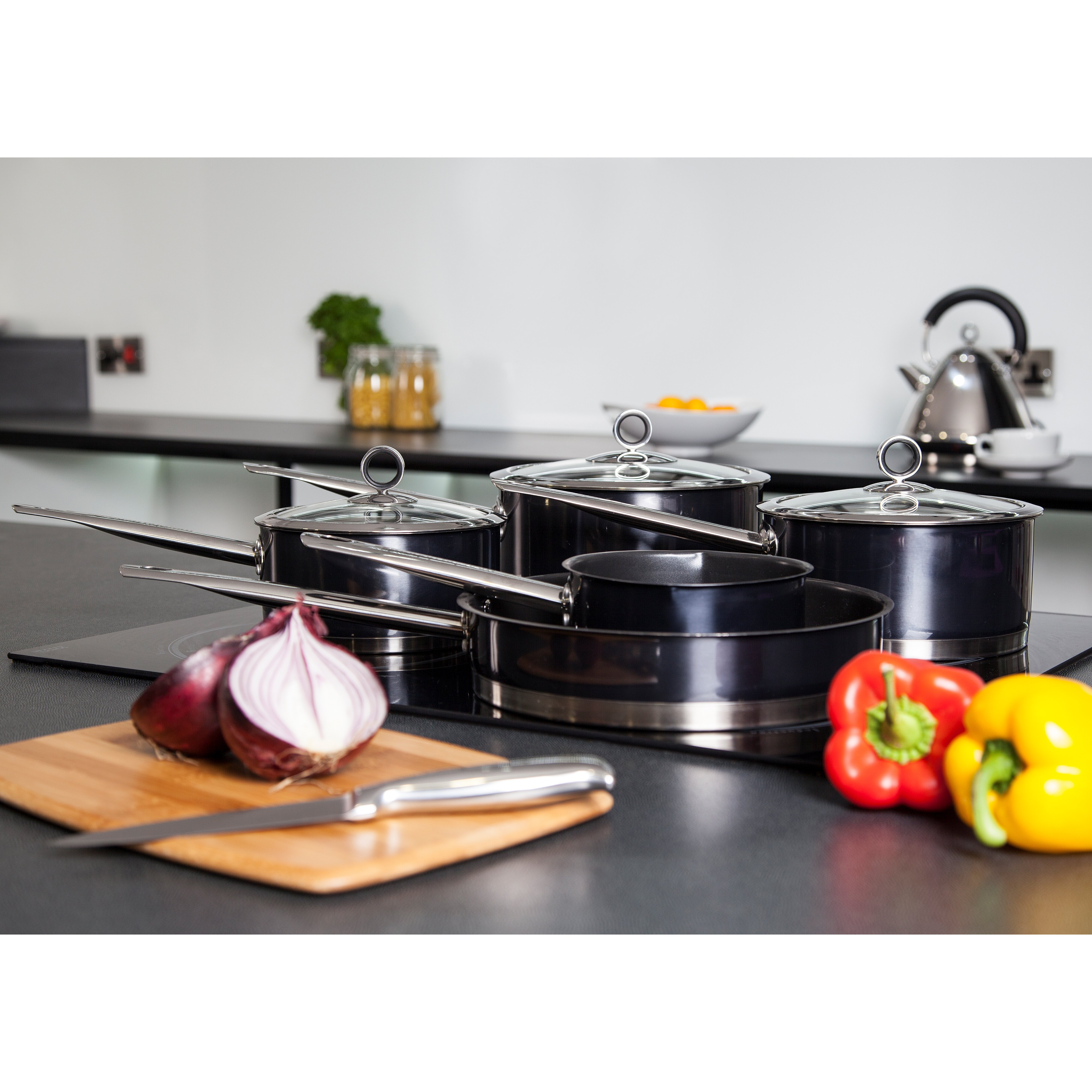 Morphy Richards Pots And Pans: Morphy Richards Accents 5-Piece Non-Stick Stainless Steel