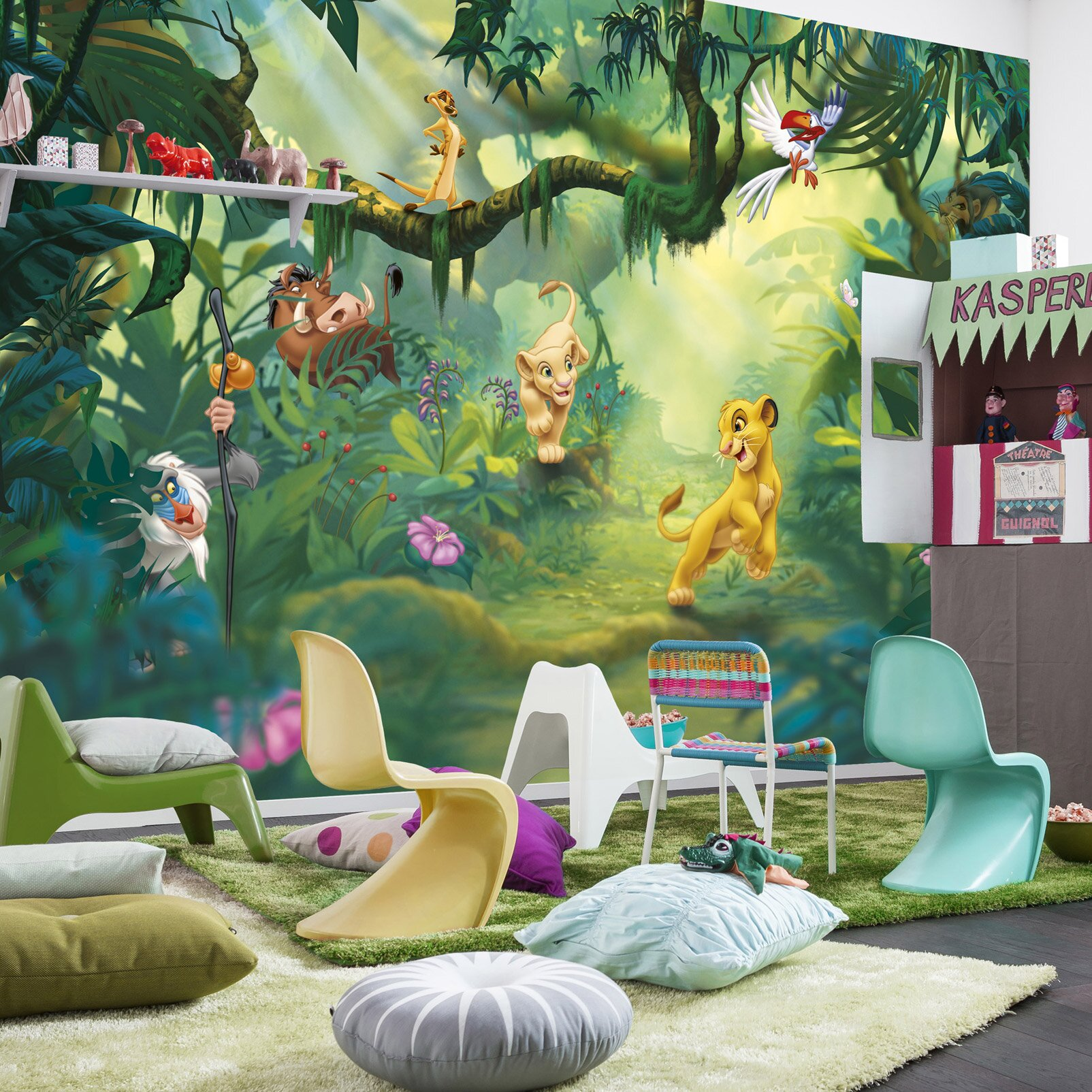 komar lion king jungle l x 368cm w 4 pieces roll wallpaper wayfair uk. Black Bedroom Furniture Sets. Home Design Ideas