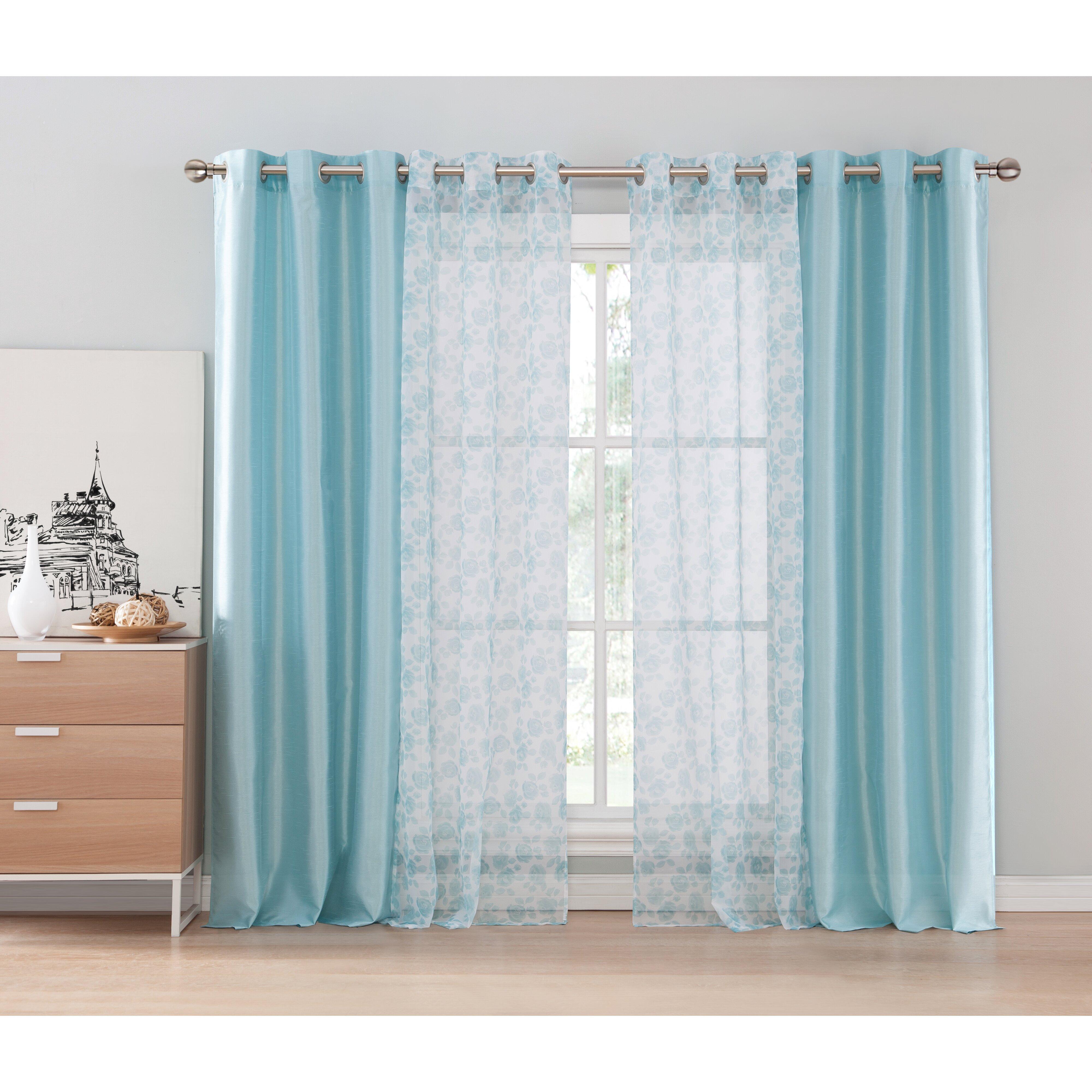 Hamilton 3 Piece Kitchen Curtain Set Available In 4: DR International Amanda 4 Piece Curtain Panel Set
