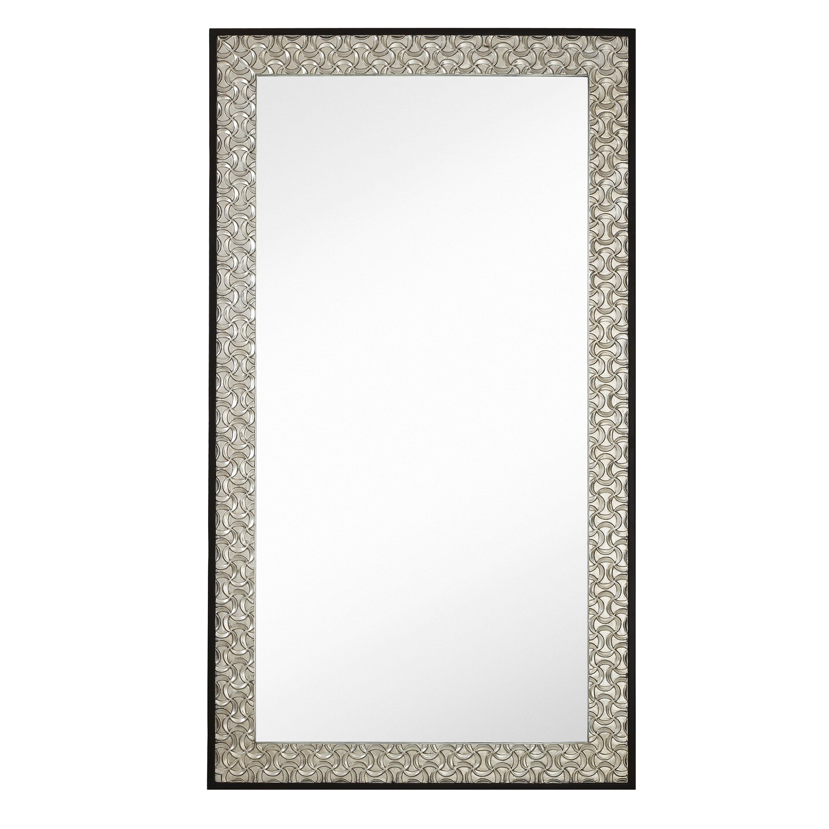 Majestic mirror long rectangular silver leaf with dark for Silver long mirror
