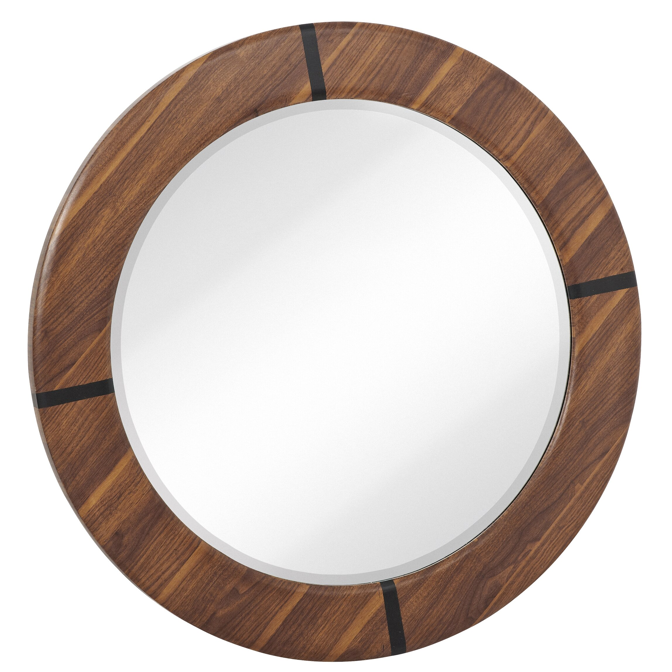 Majestic mirror round modern walnut beveled glass framed Round framed mirror