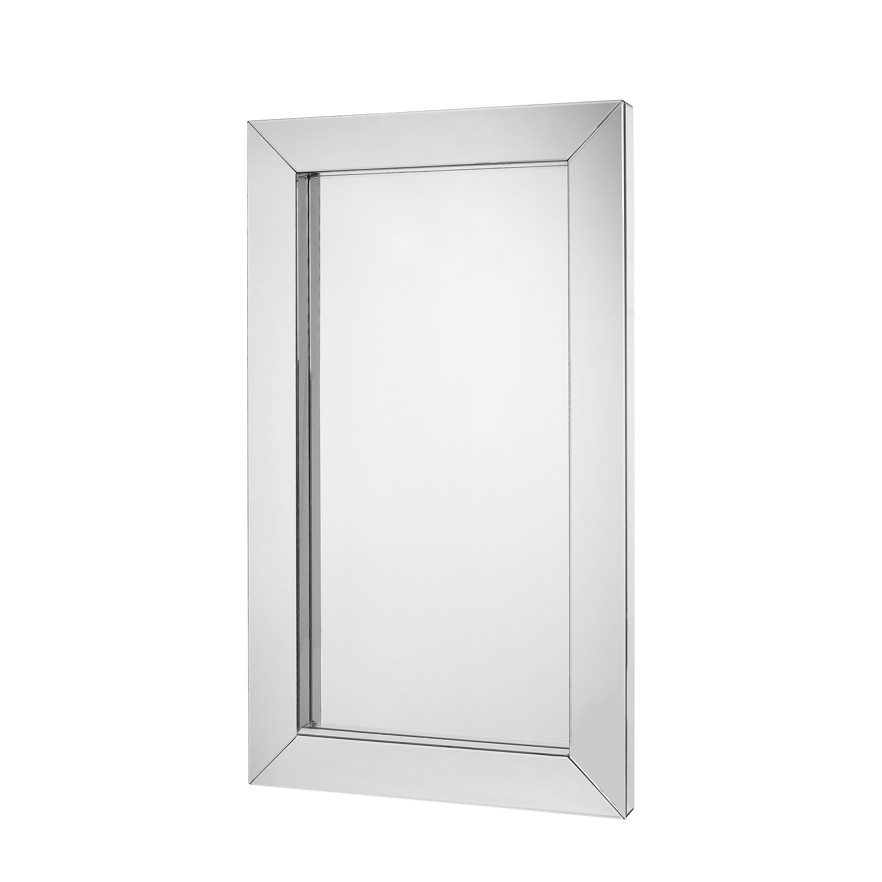 Majestic mirror large modern rectangular mirrored wood for Large contemporary mirrors