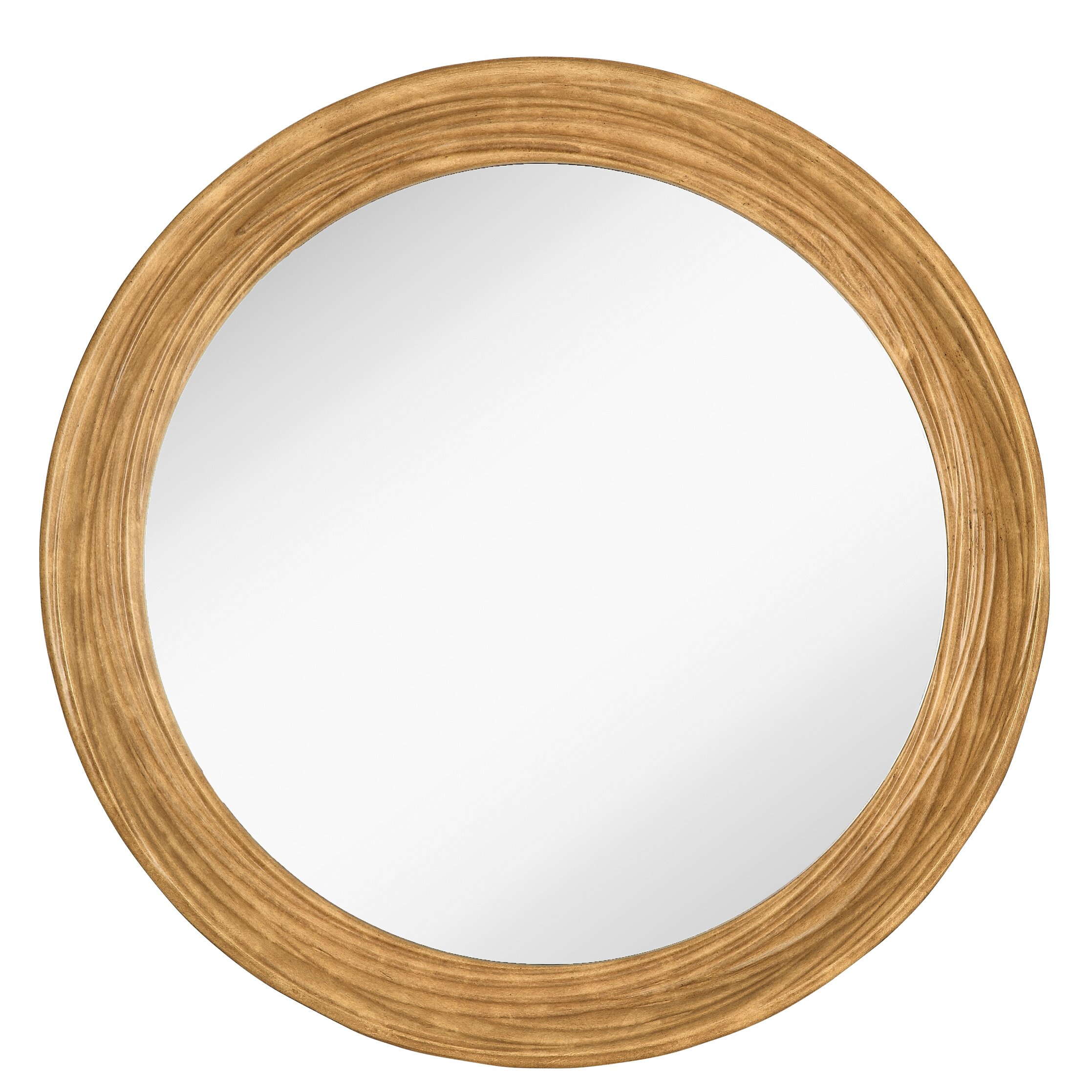 Majestic Mirror Round Simple Natural Wood Framed Hanging