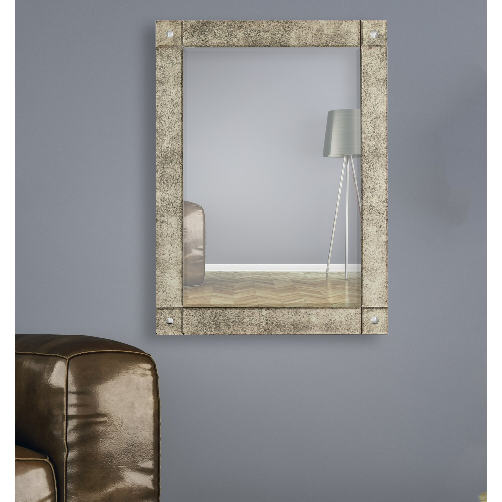 majestic mirror rectangular beveled wood framed wall mirror