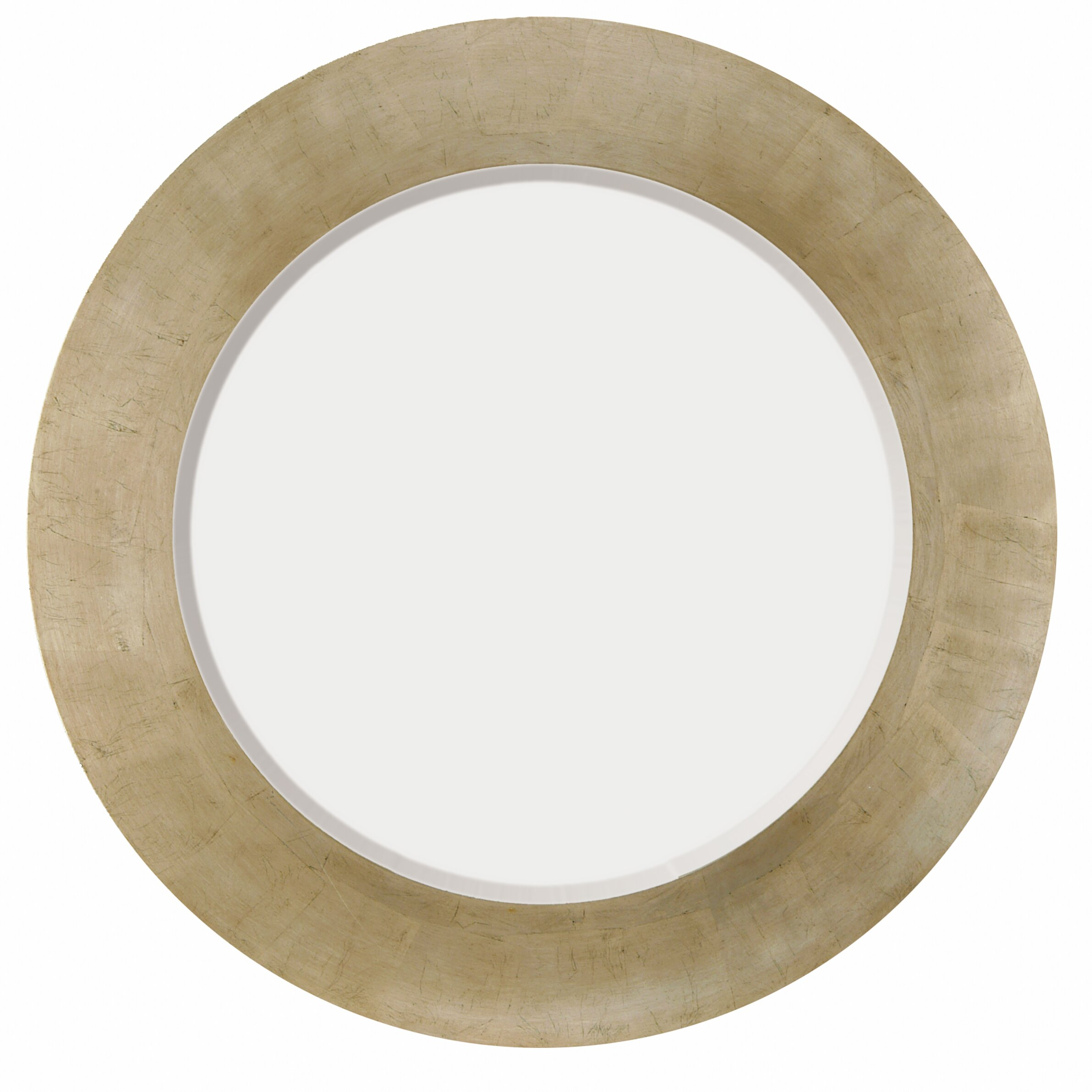 Majestic Mirror Simple Round Beveled Glass Framed Wall