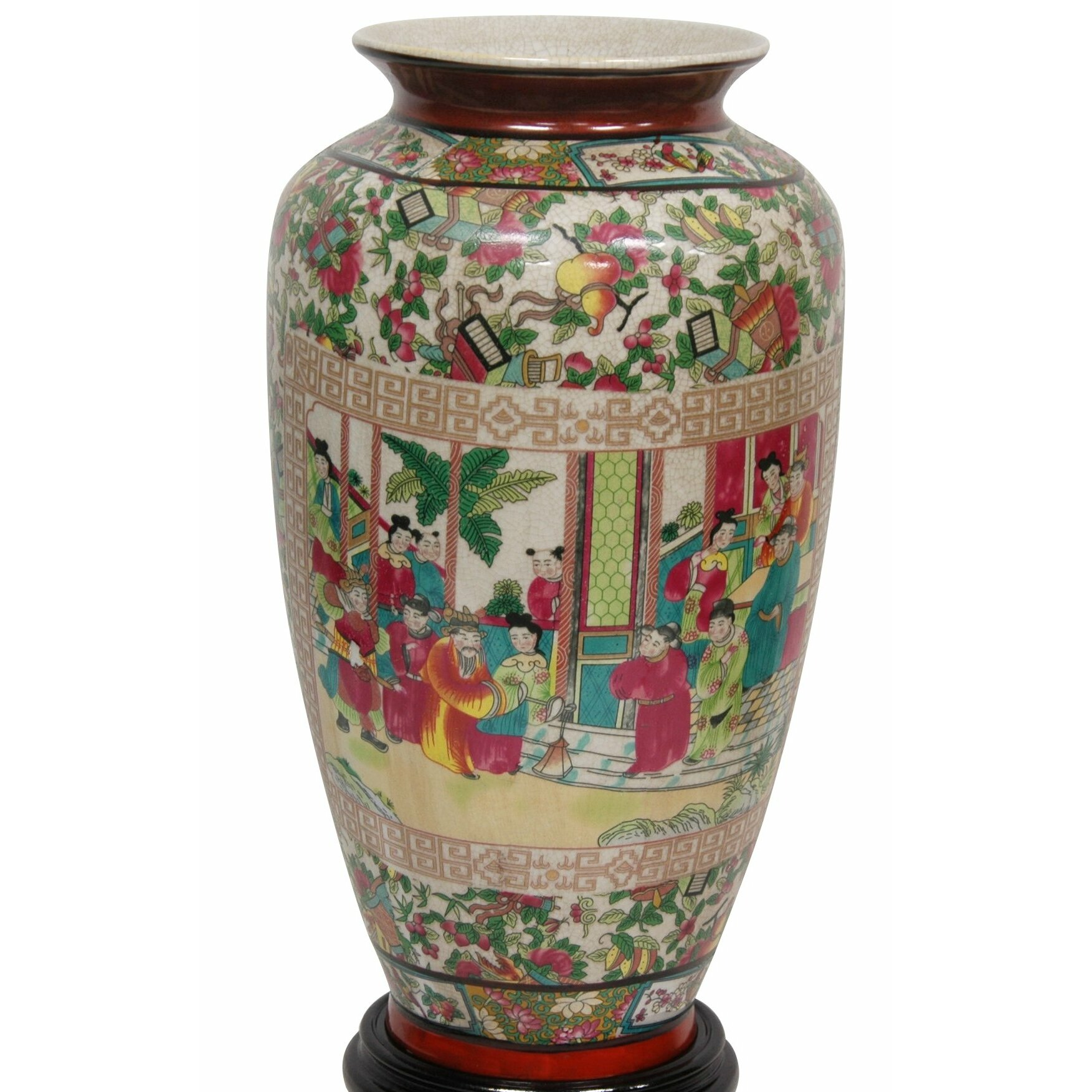 Oriental furniture tung chi vase reviews wayfair for Oriental vase and furniture