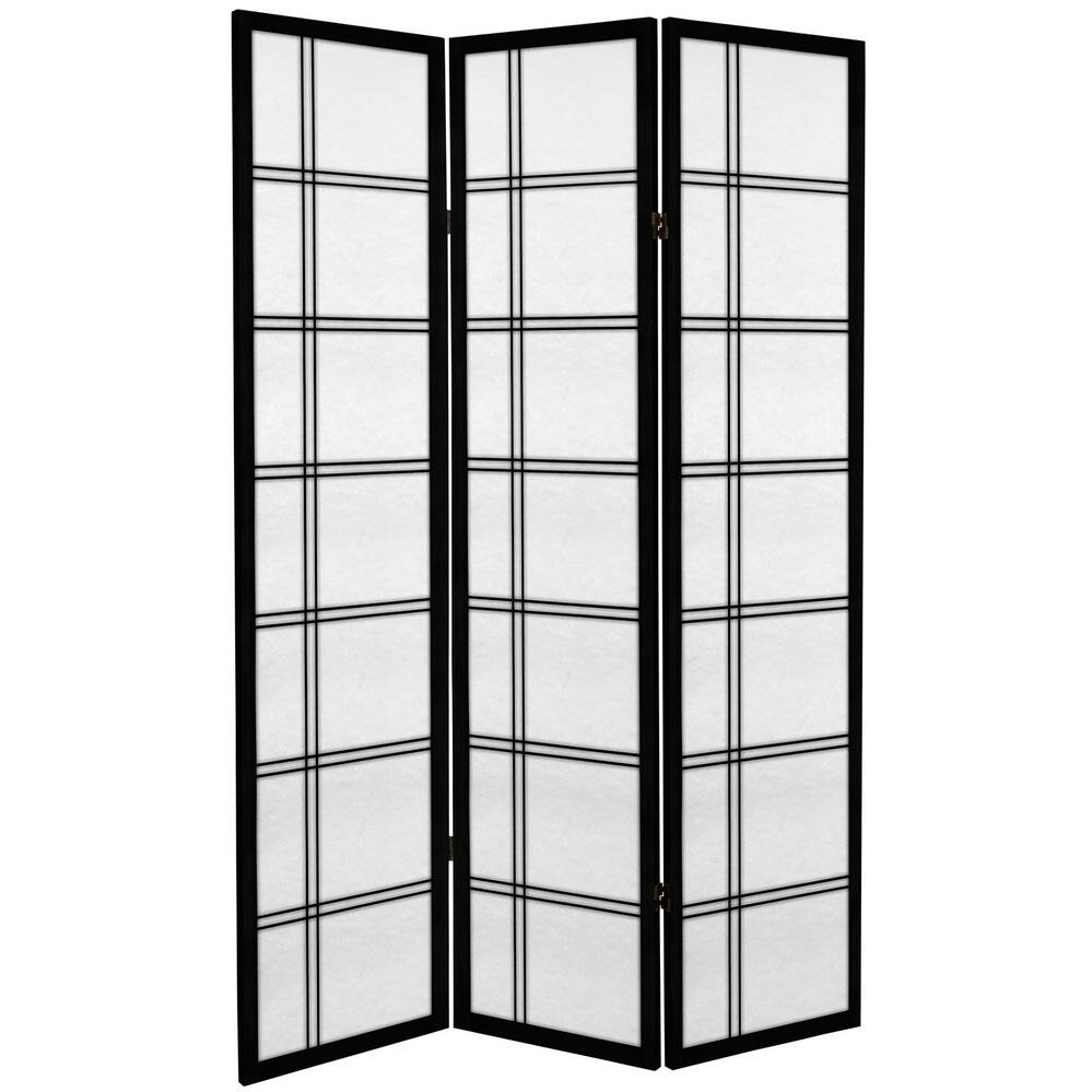 Oriental furniture 71 double cross 3 panel room divider for Asian furniture dc