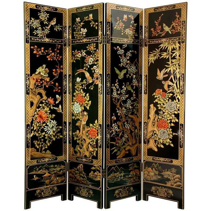 """Mother Of Pearl Inlay Wooden Mini Folding Screen Asian: Oriental Furniture 72"""" X 64"""" Four Seasons Flowers 4 Panel"""