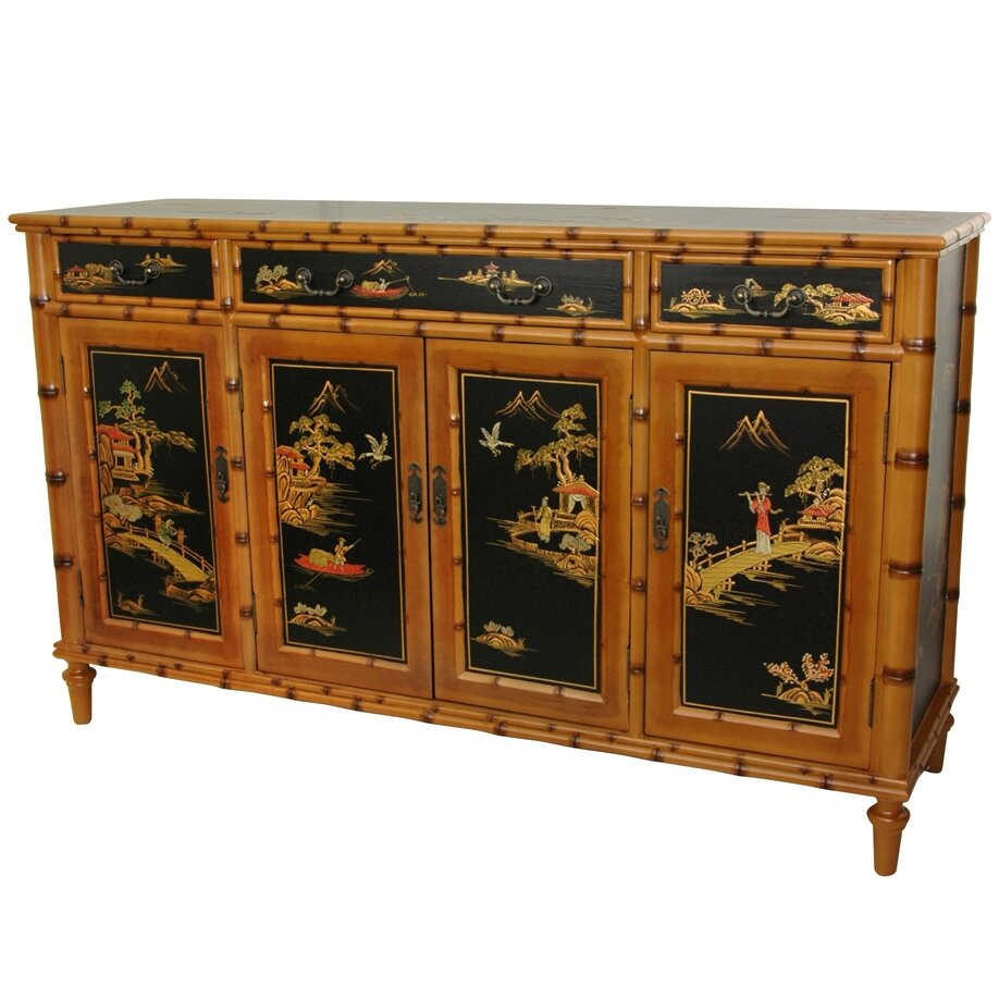 Oriental furniture ching 3 drawer hall cabinet wayfair for Oriental furniture