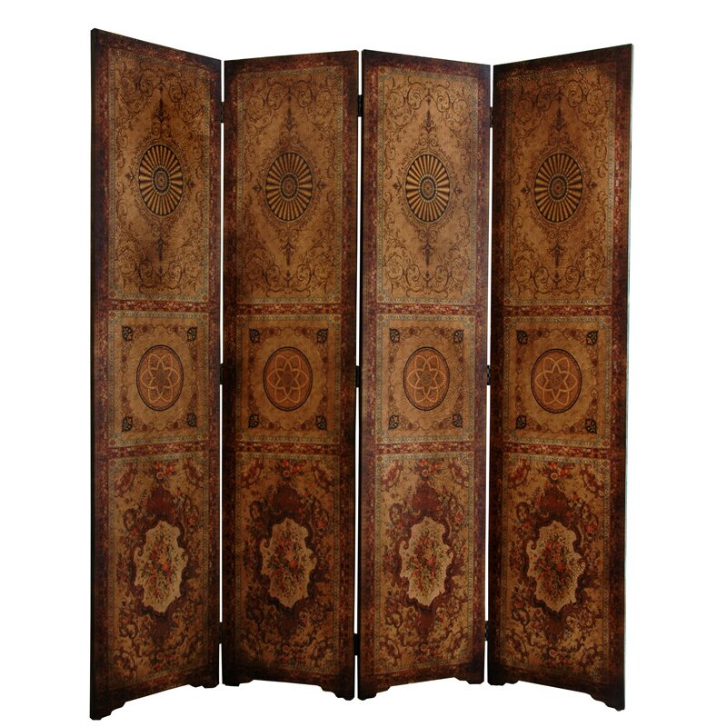 Oriental furniture 72 x 63 olde worlde parlor 4 panel for Four panel room divider screen