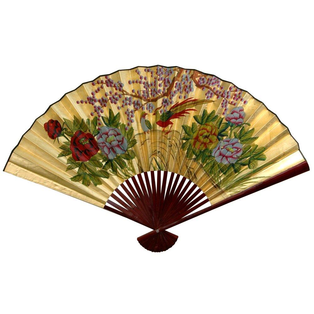 Oriental furniture gold leaf cherry blossom fan wall d cor reviews wayfair - Wall fans decorative ...