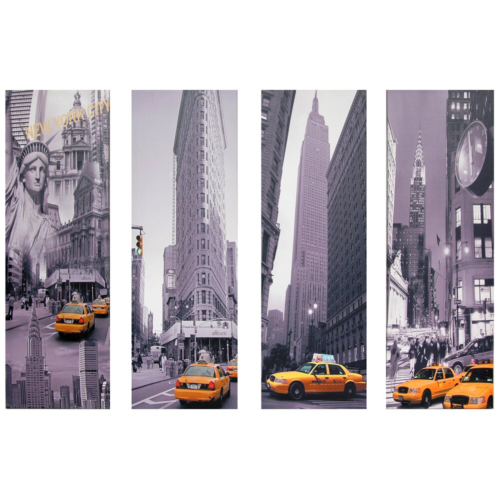 Oriental furniture new york taxi 4 piece graphic art on for Asian furniture nyc
