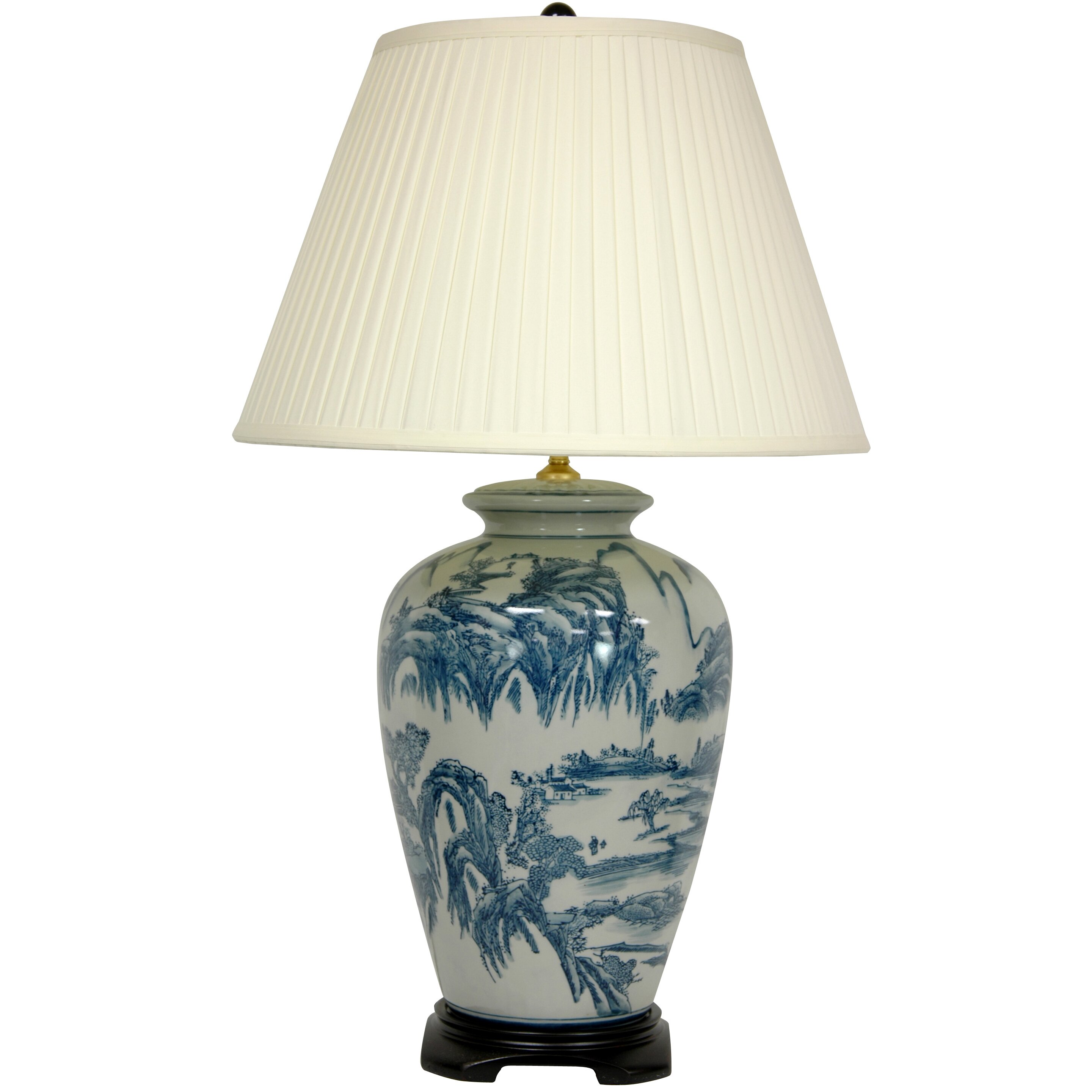 "Oriental Furniture Chinese Landscape Oriental 29"" H Table Lamp with Empire Shade & Reviews"