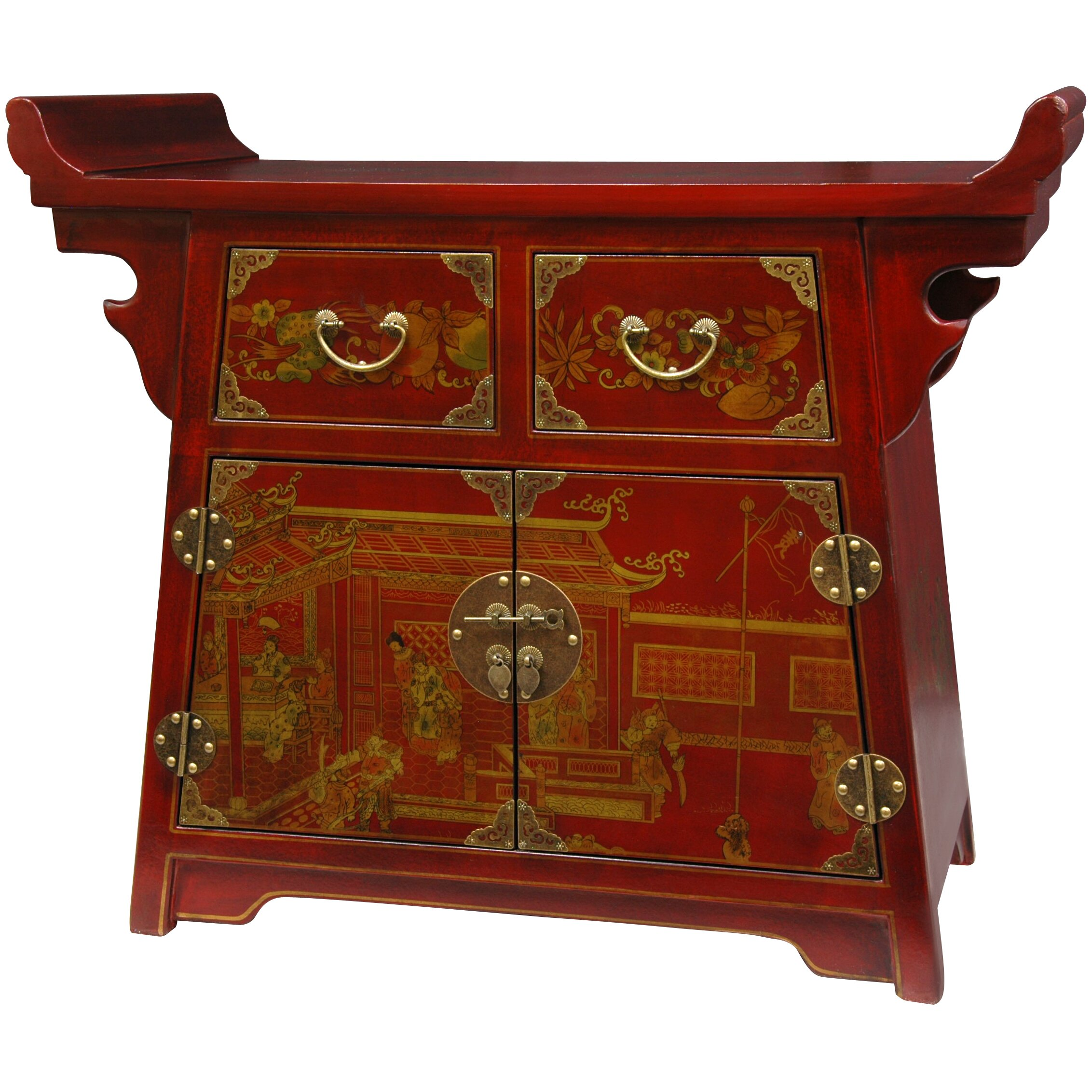 Oriental furniture lacquer village life altar cabinet for Oriental furniture