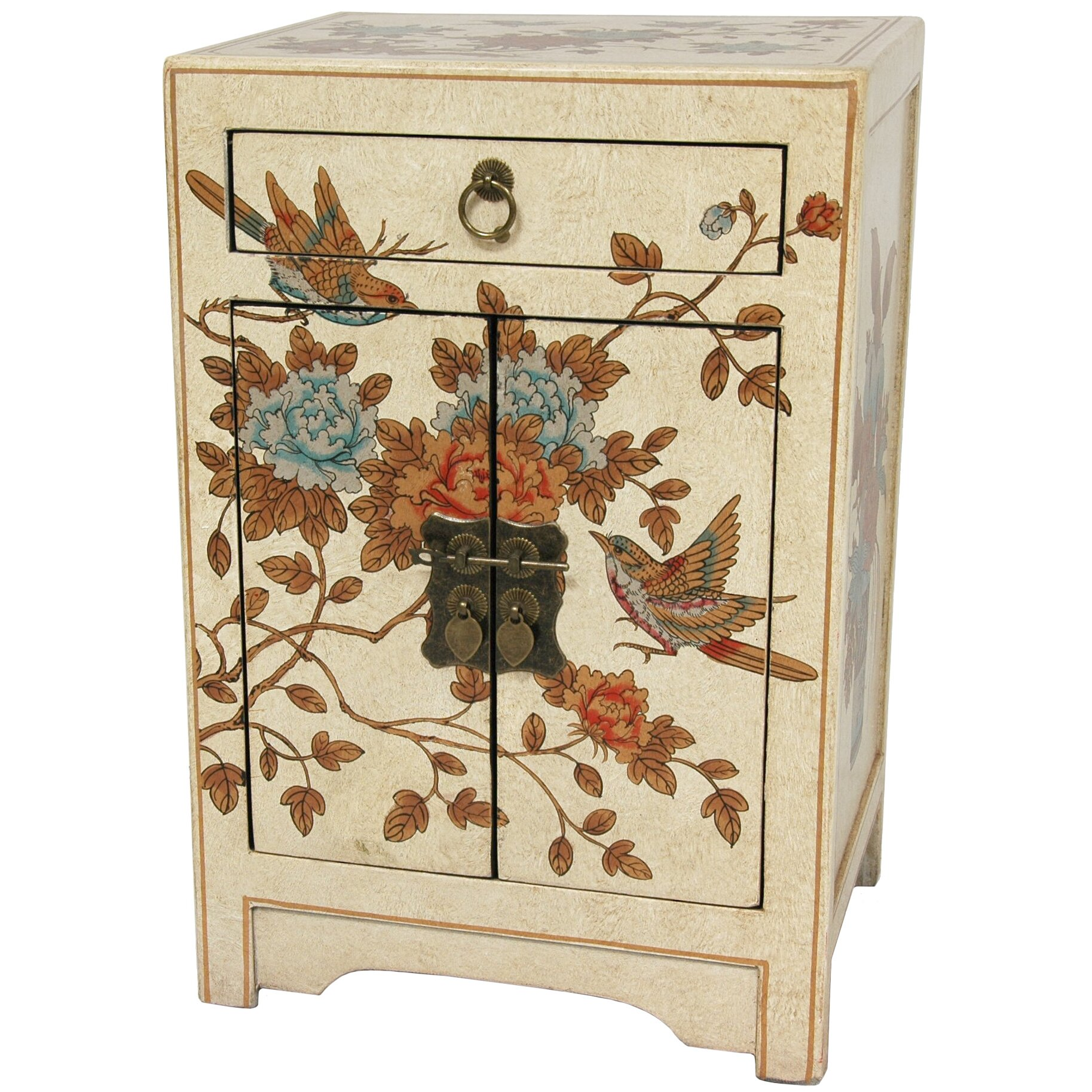Oriental furniture peaceful birds end table reviews for Oriental furniture