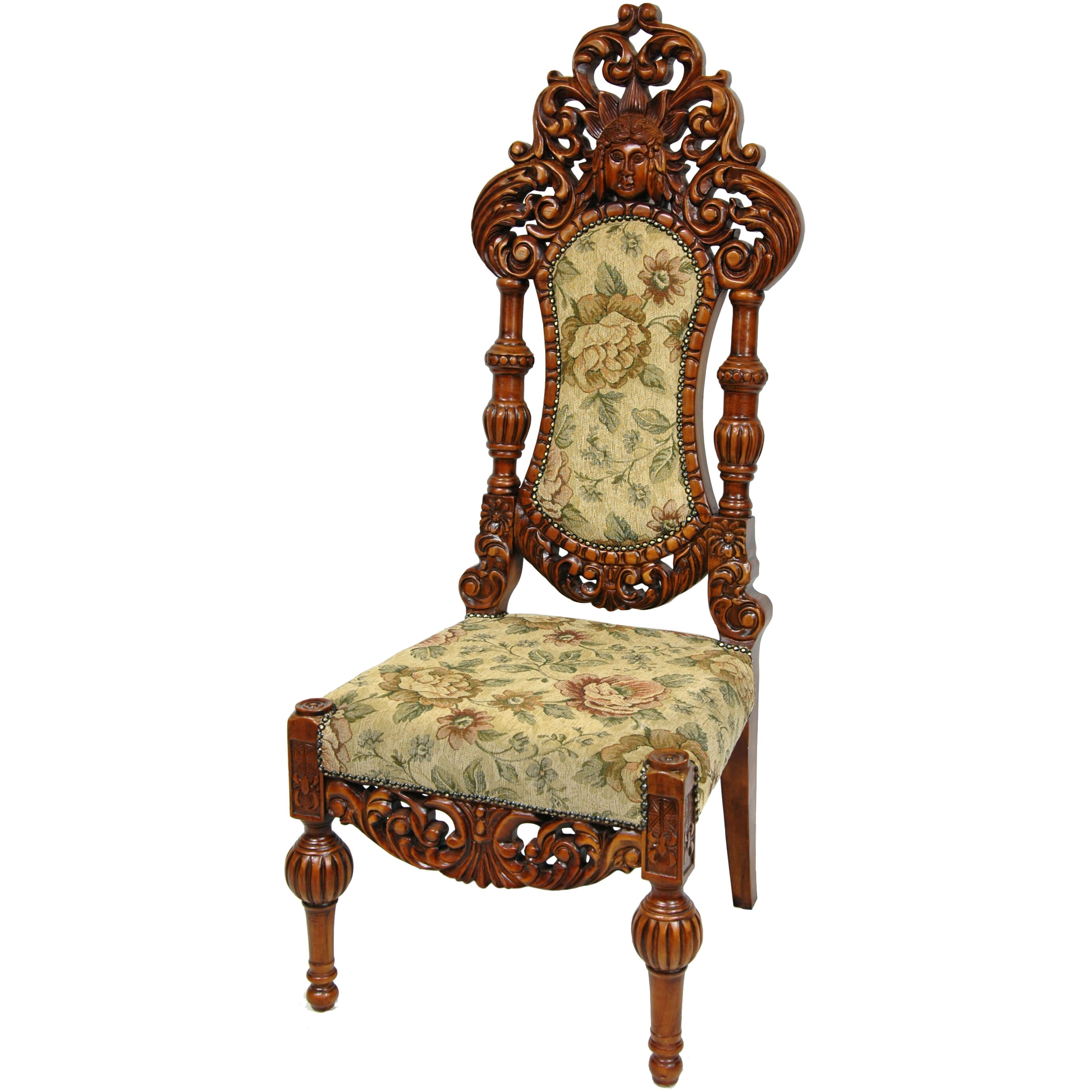 Seating Mini Gravita Armchair In Oriental Garden Fabric: Oriental Furniture Queen Victoria Parlor Fabric Side Chair