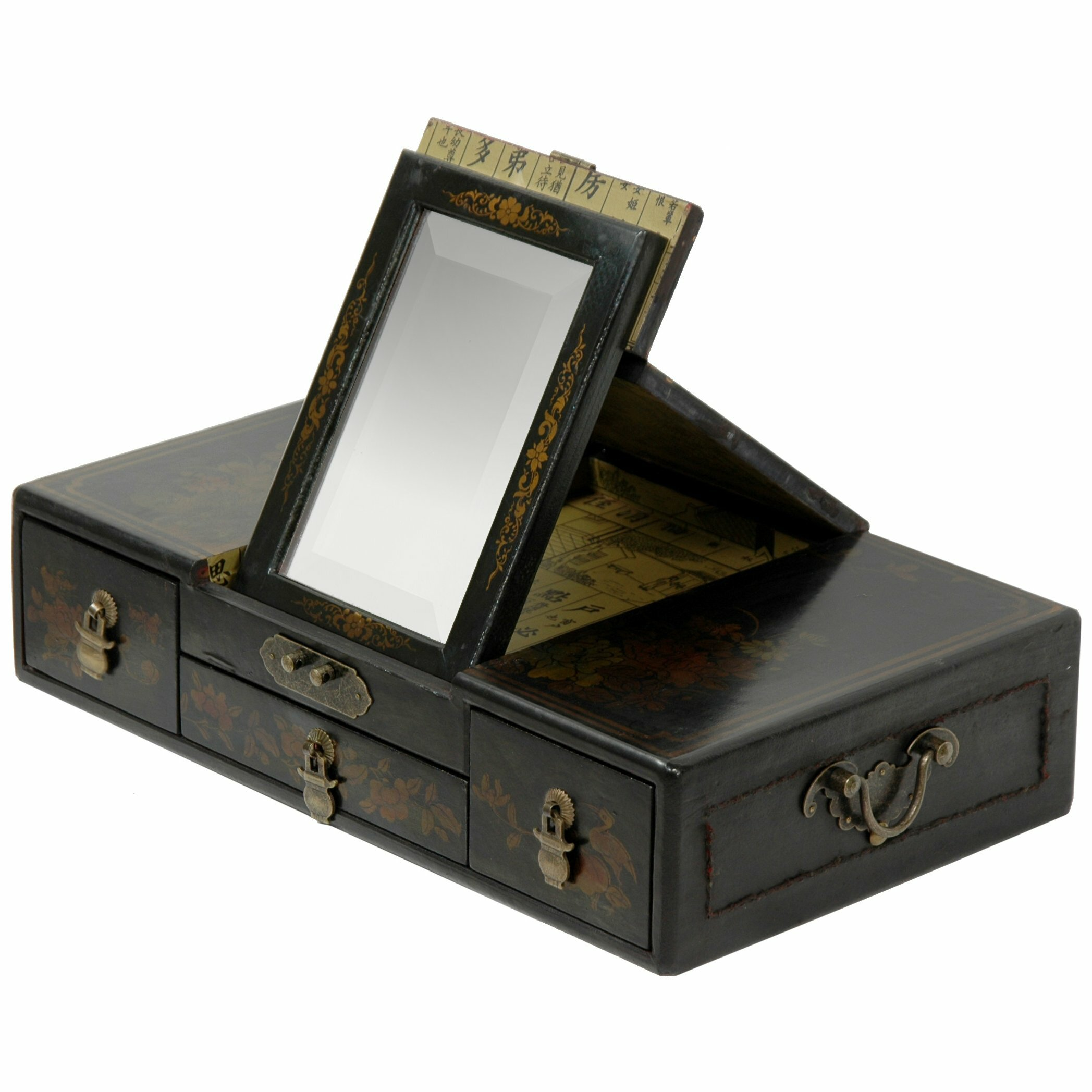 Oriental furniture large mirror jewelry box reviews for Mirror jewelry box