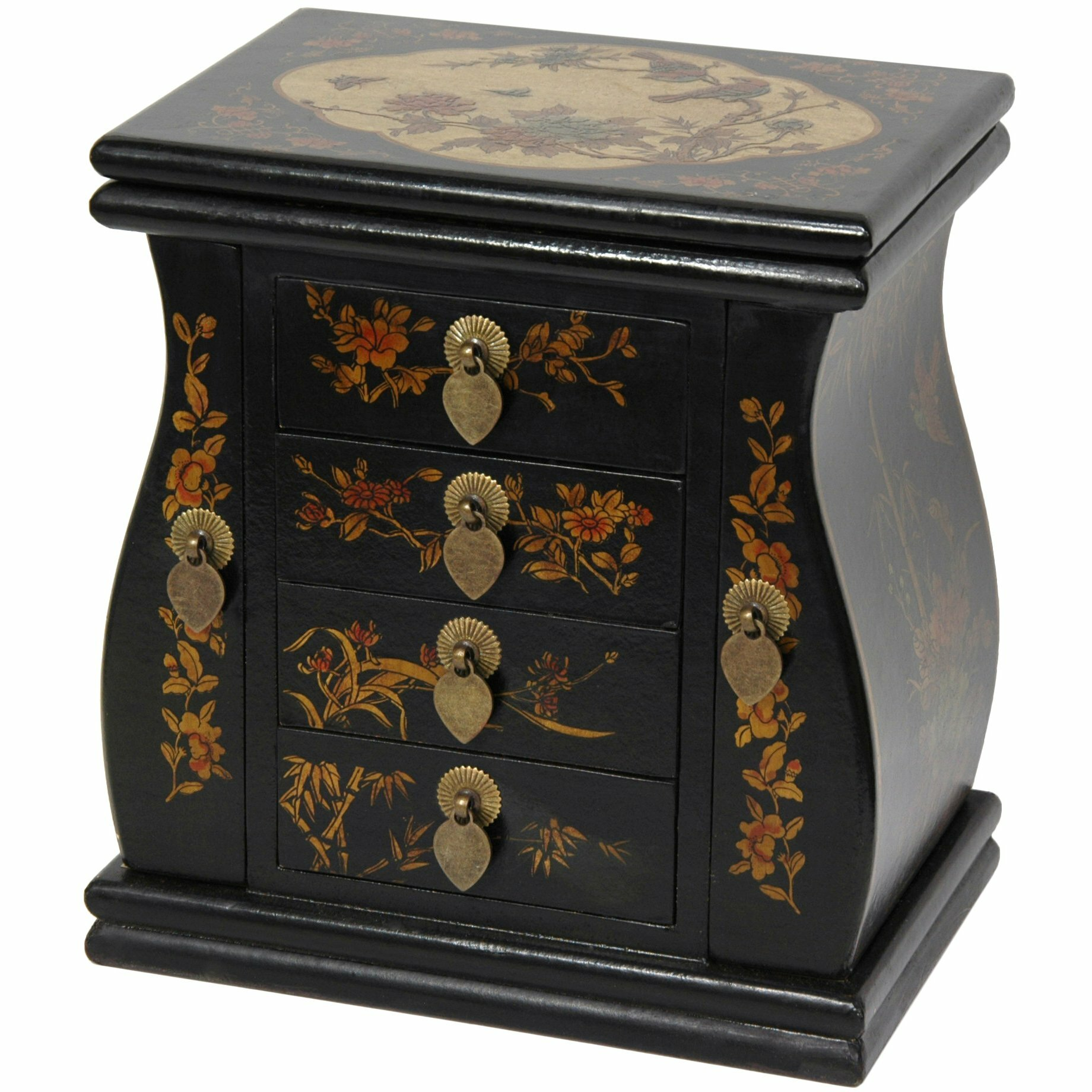 Oriental Furniture Large Standing Mirror Jewelry Box ...