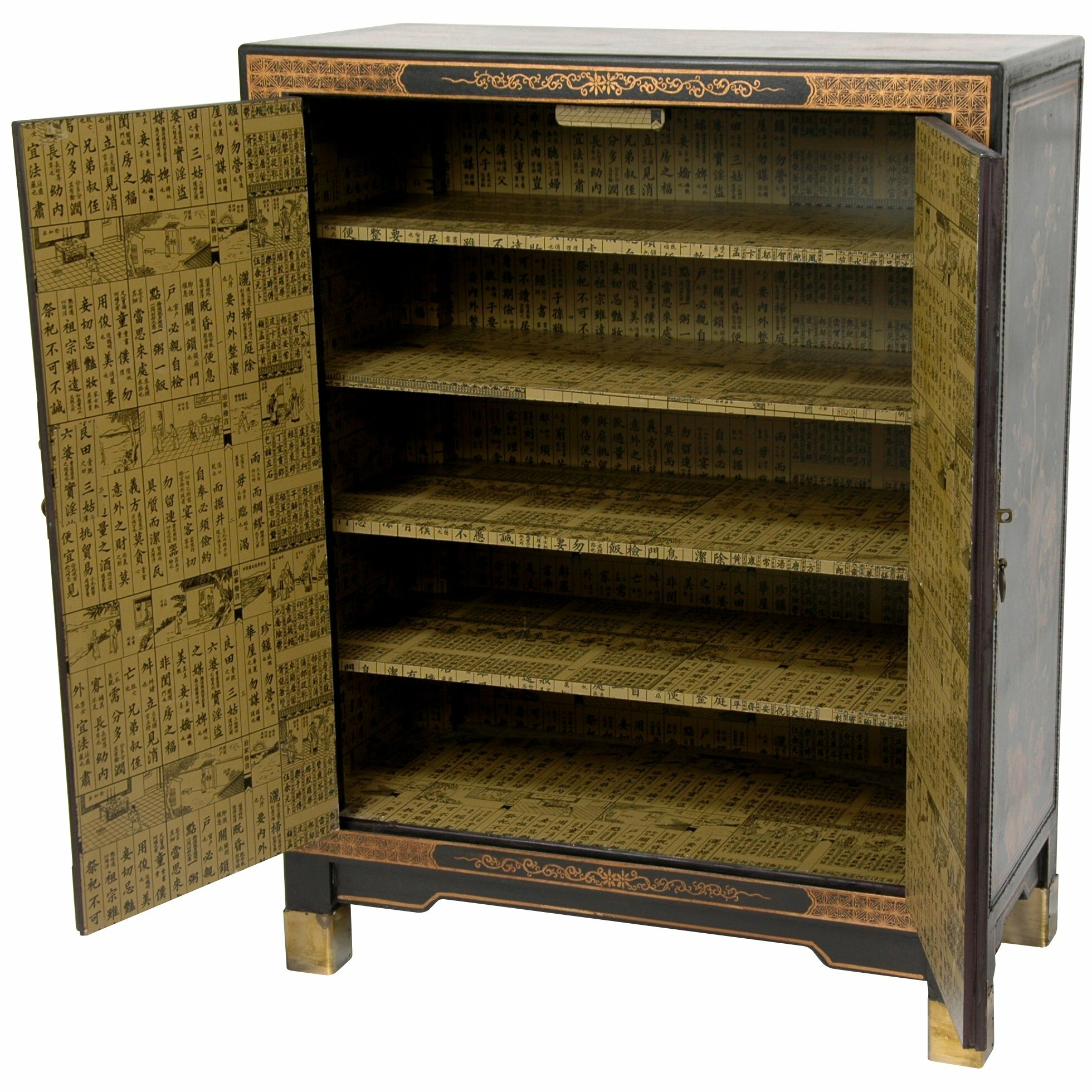 Oriental furniture nestling birds cabinet reviews wayfair for Oriental furniture
