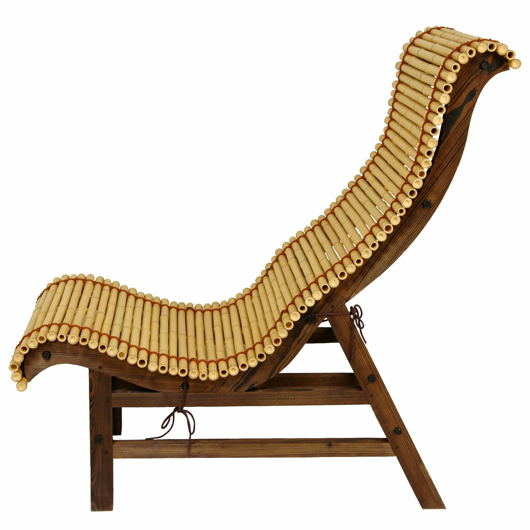 Oriental furniture curved japanese bamboo lounge chair for Curved lounge