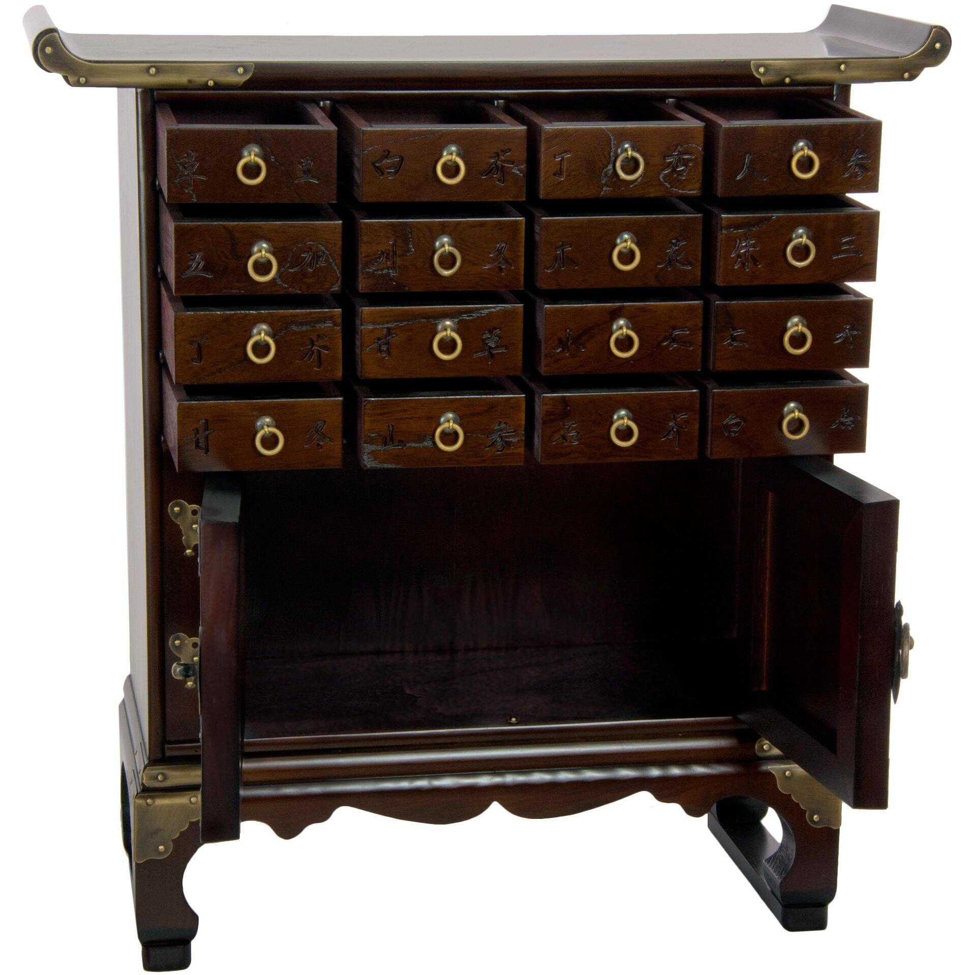 Oriental furniture korean 16 drawer medicine chest for Oriental furniture