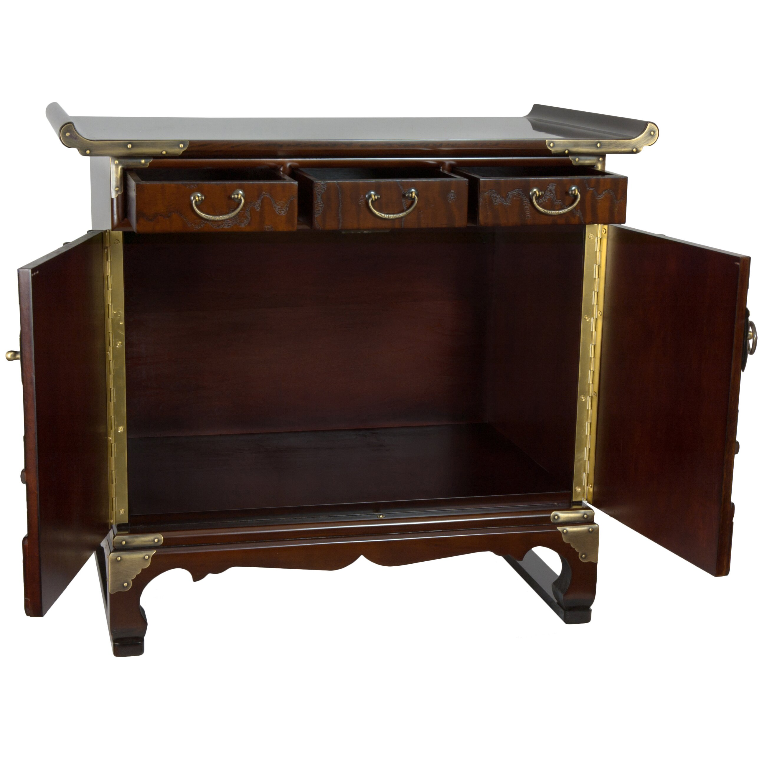Oriental furniture korean 3 drawer end table cabinet wayfair for Oriental furniture