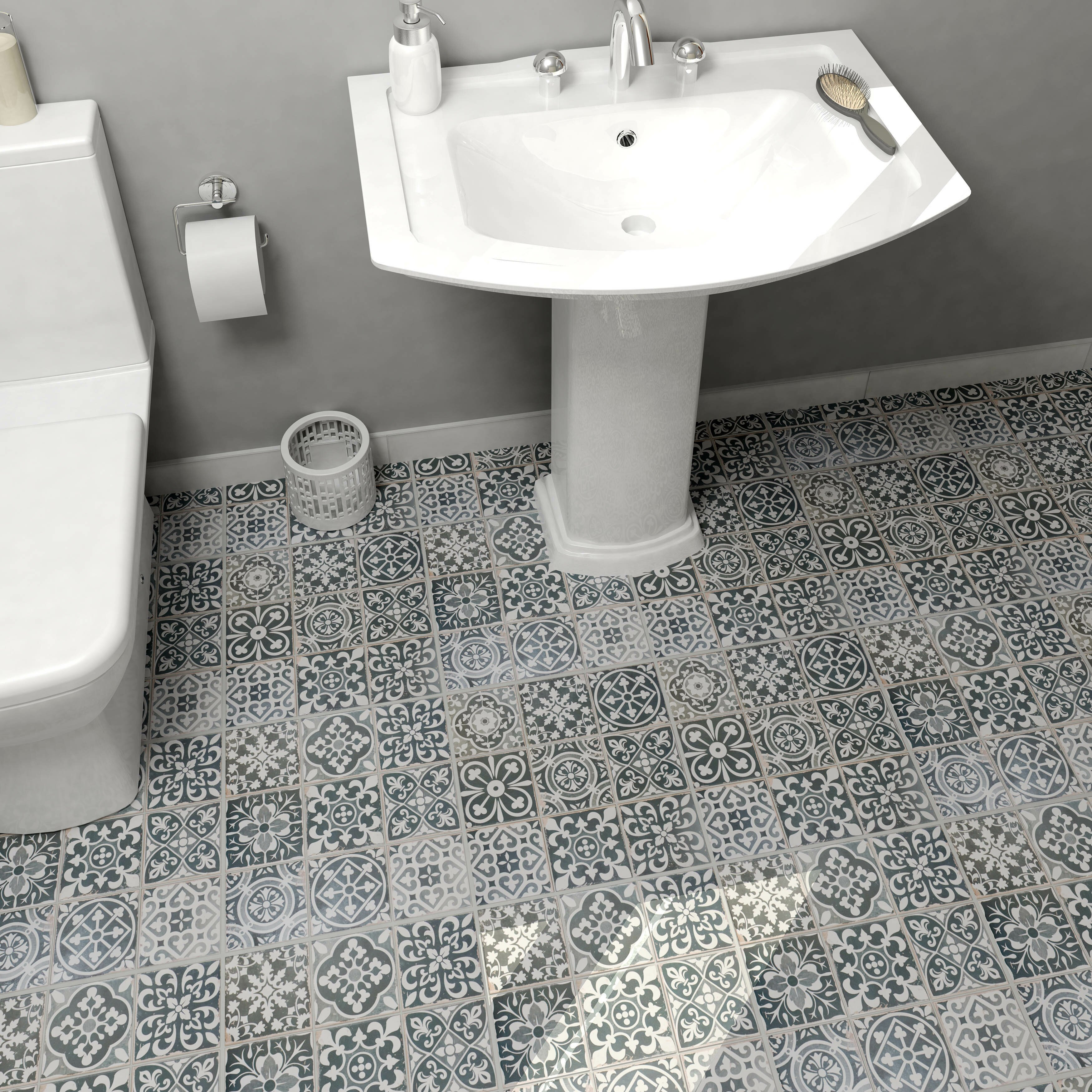Elitetile faventie nero 13 x 13 ceramic field tile in for 13 inch ceramic floor tile