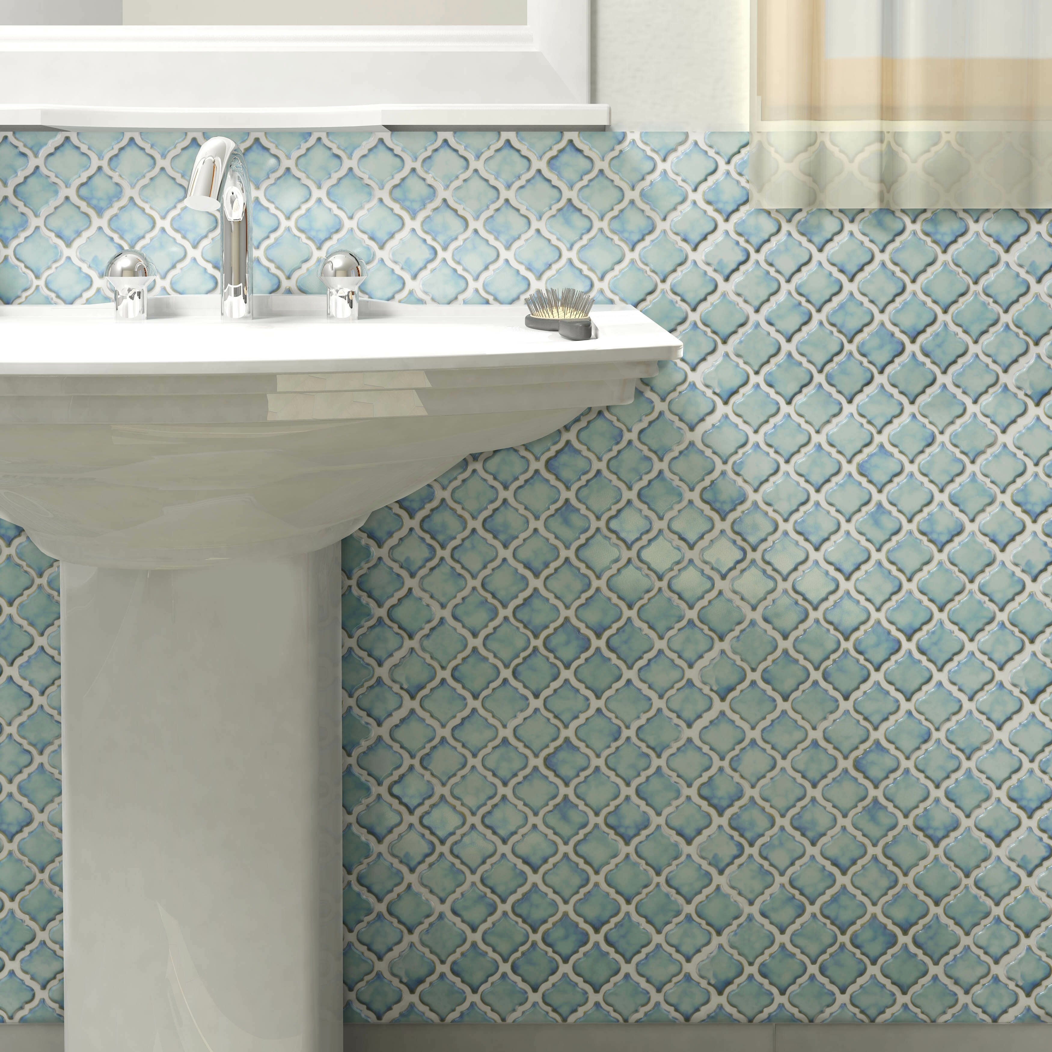 Elitetile Pharsalia 2 X Porcelain Mosaic Tile In Marine Reviews Wayfair