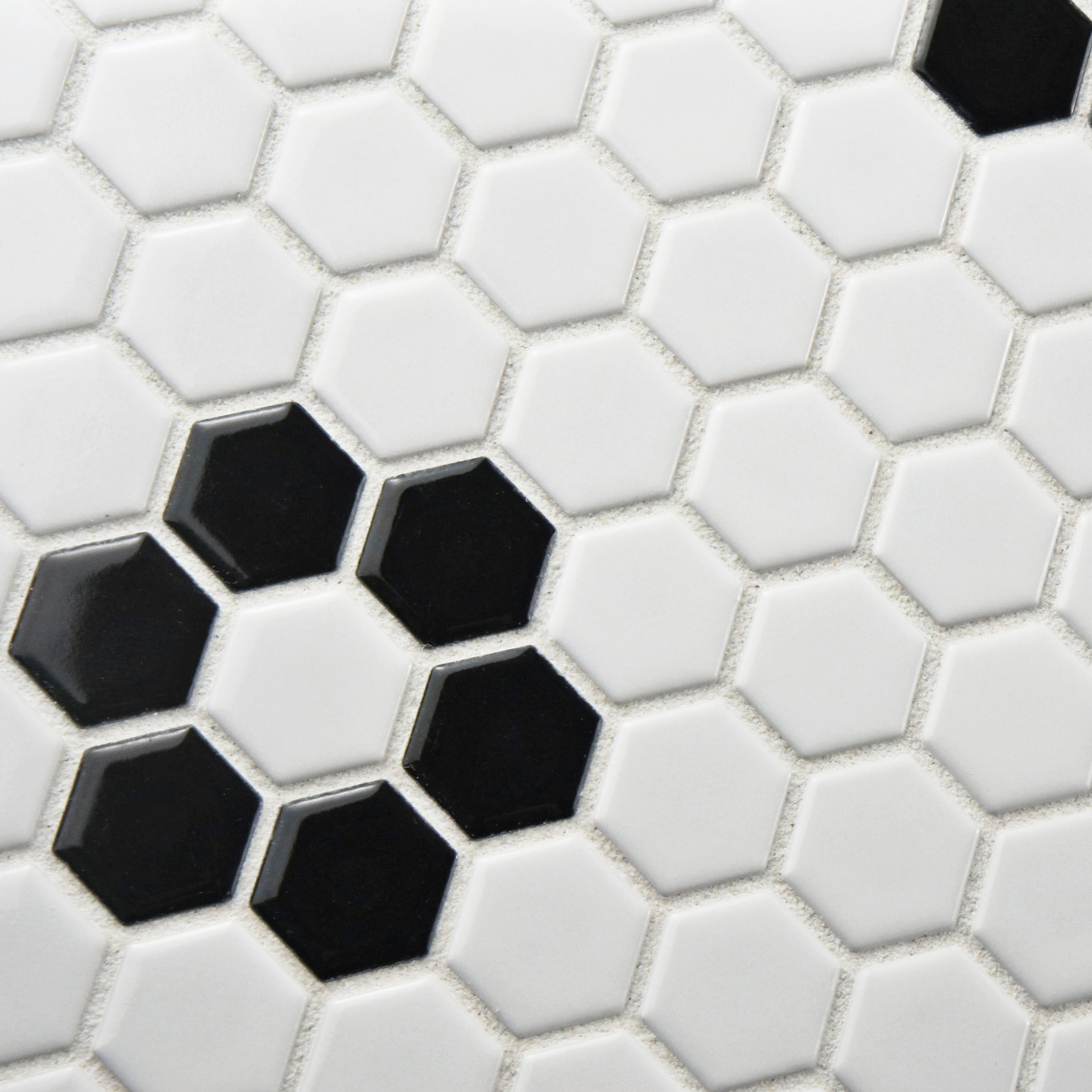 """Retro 0.875"""" x 0.875"""" Hex Porcelain Mosaic Tile in White with Heavy..."""