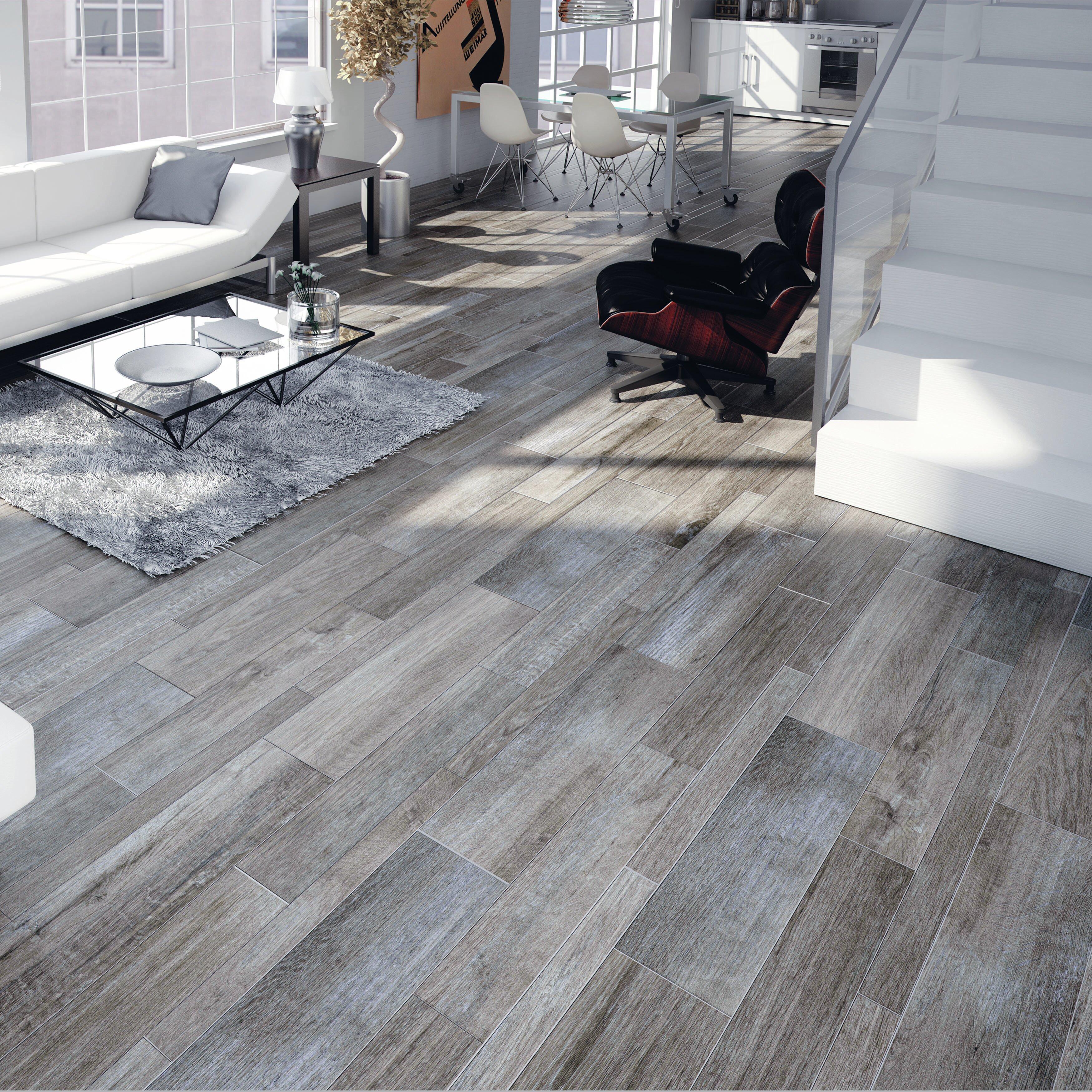 elitetile savona 8 x 26 porcelain wood tile in gris wayfair. Black Bedroom Furniture Sets. Home Design Ideas