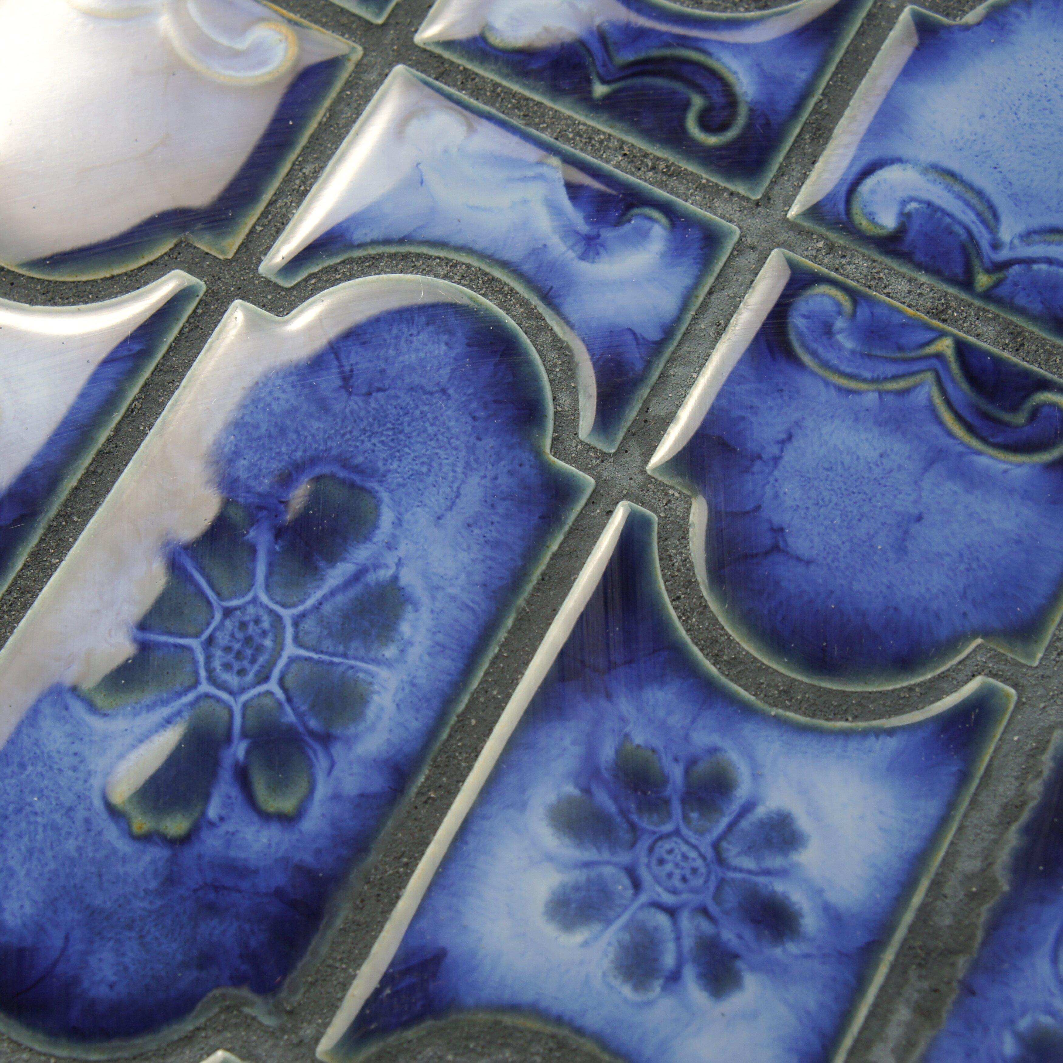 Elitetile mondego 12 5 x porcelain mosaic tile in for 12 x 12 blue ceramic floor tile