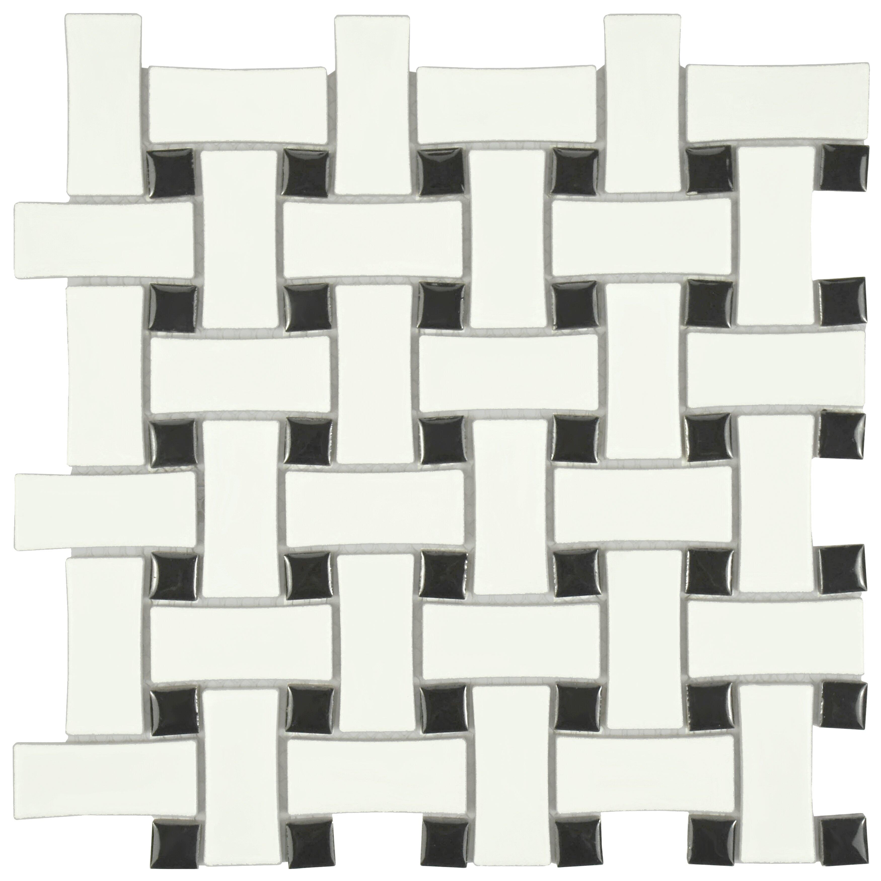 Elitetile retro basket weave 10 5 x 10 5 porcelain Black and white ceramic tile